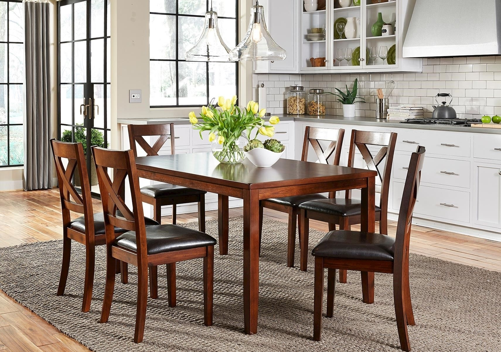 Lacks | Thornton 7 Pc Dining Set | Dining Rooms | Pinterest | Dining Regarding Latest Candice Ii 7 Piece Extension Rectangular Dining Sets With Slat Back Side Chairs (View 10 of 20)