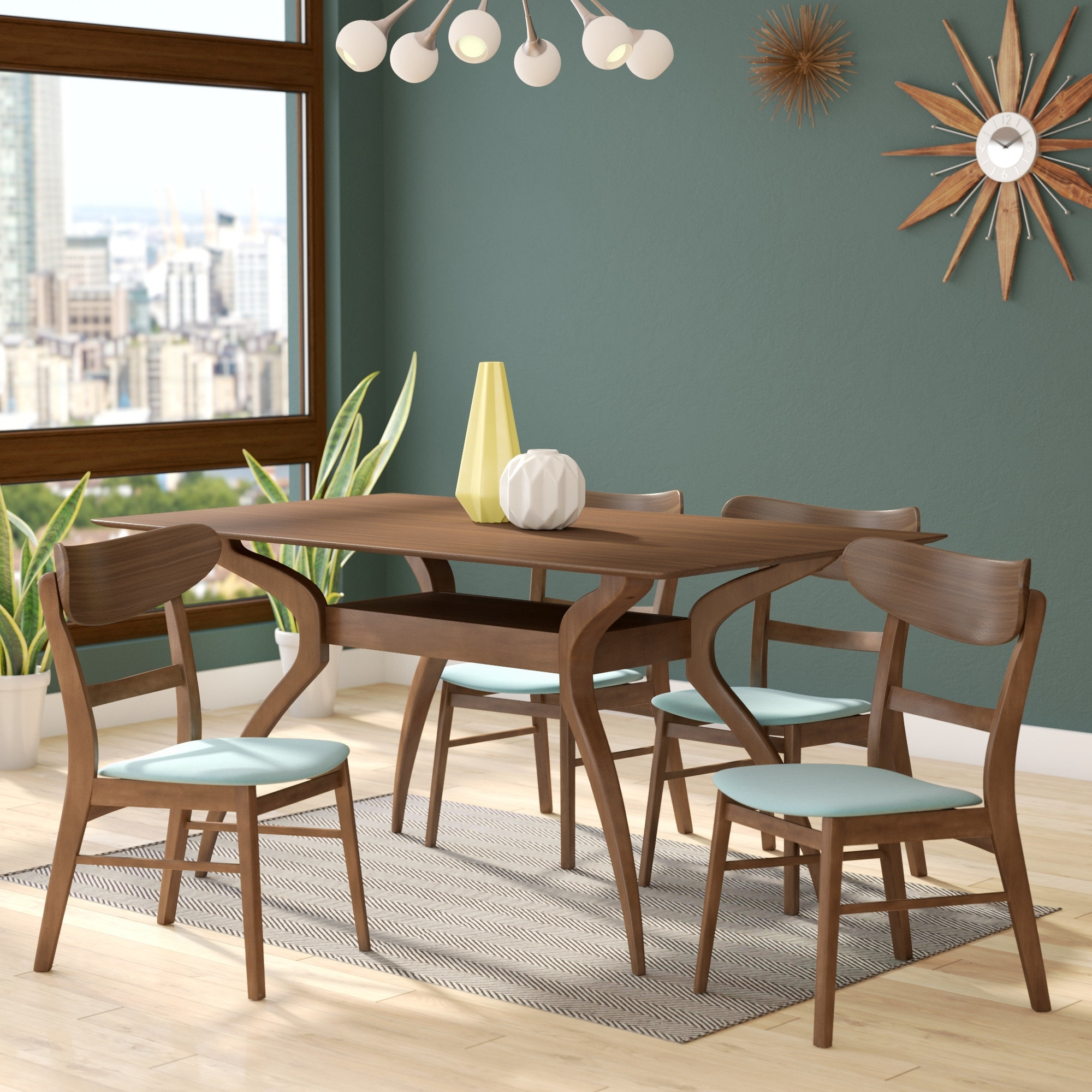 Langley Street Patterson 5 Piece Dining Set & Reviews | Wayfair Pertaining To Recent Patterson 6 Piece Dining Sets (View 3 of 20)