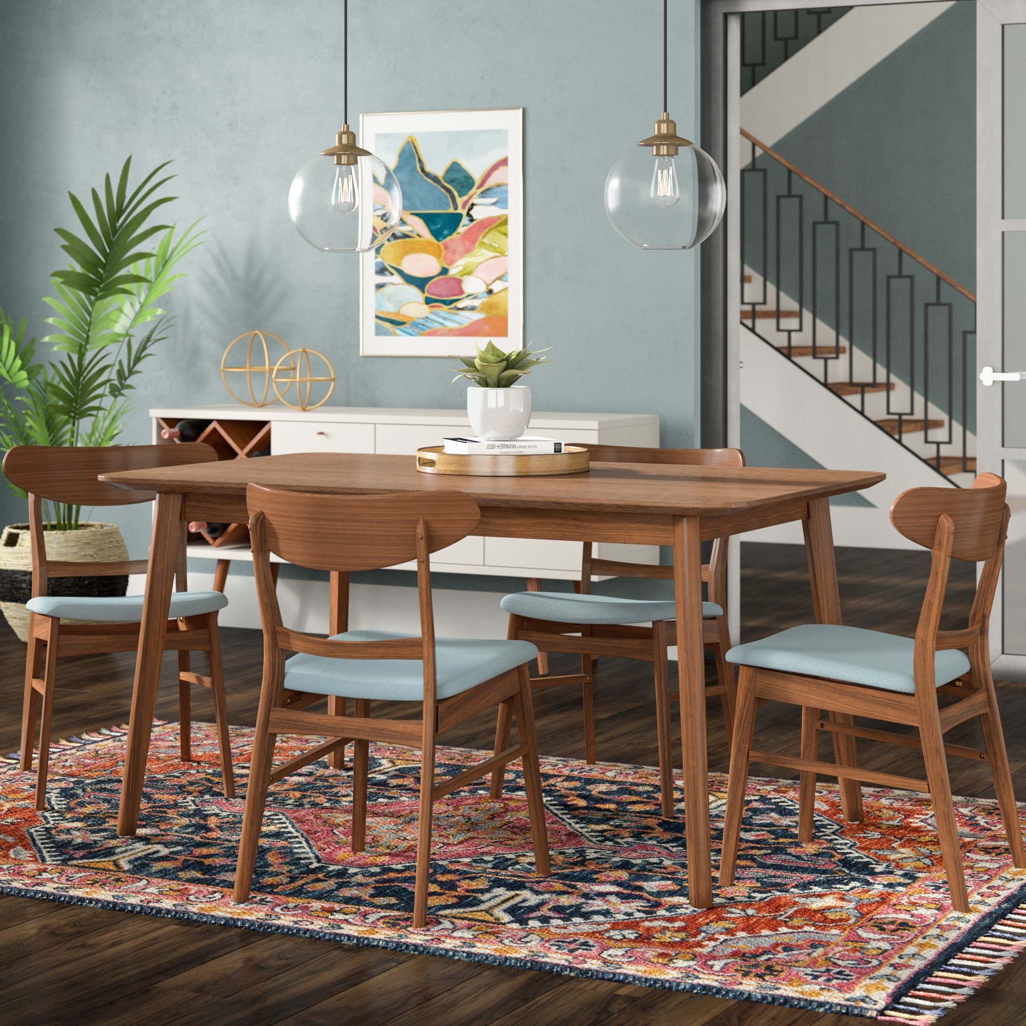 Langley Street Yolanda 5 Piece Dining Set & Reviews | Wayfair With Most Current Laurent 5 Piece Round Dining Sets With Wood Chairs (Image 11 of 20)