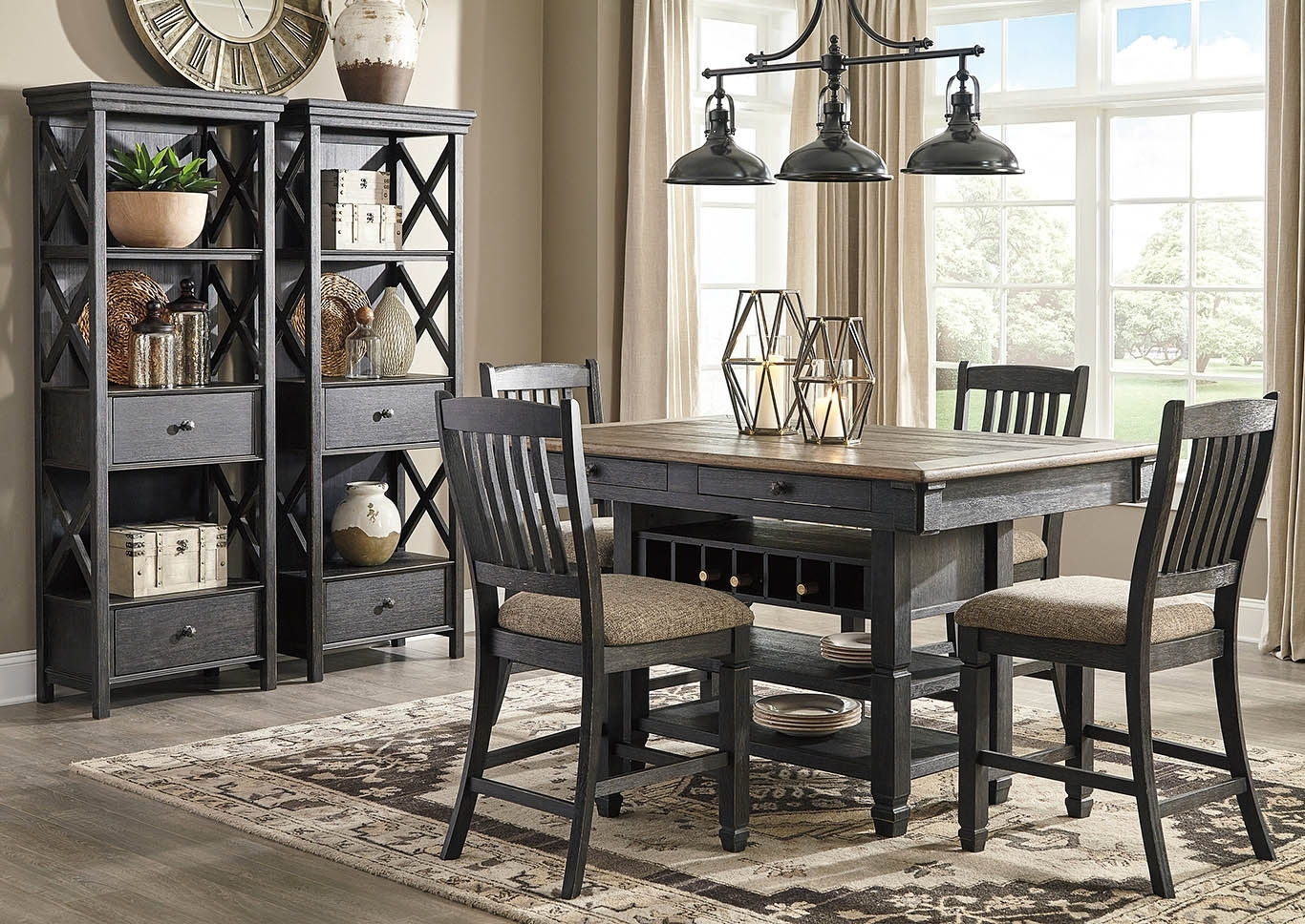 Langlois Furniture – Muskegon, Mi Tyler Creek Black/grayish Brown 7 With Regard To Most Popular Jaxon 5 Piece Extension Counter Sets With Fabric Stools (Image 12 of 20)