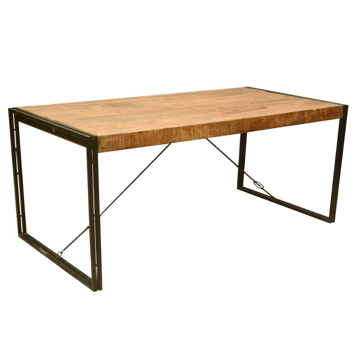 Large Rustic Industrial Style Mango Wood And Iron Dining Table Intended For Newest Mango Wood/iron Dining Tables (Image 9 of 20)
