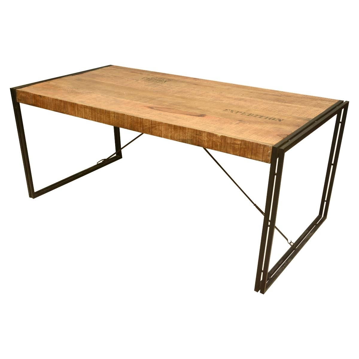 Large Rustic Industrial Style Mango Wood And Iron Dining Table Throughout Current Mango Wood/iron Dining Tables (Image 10 of 20)