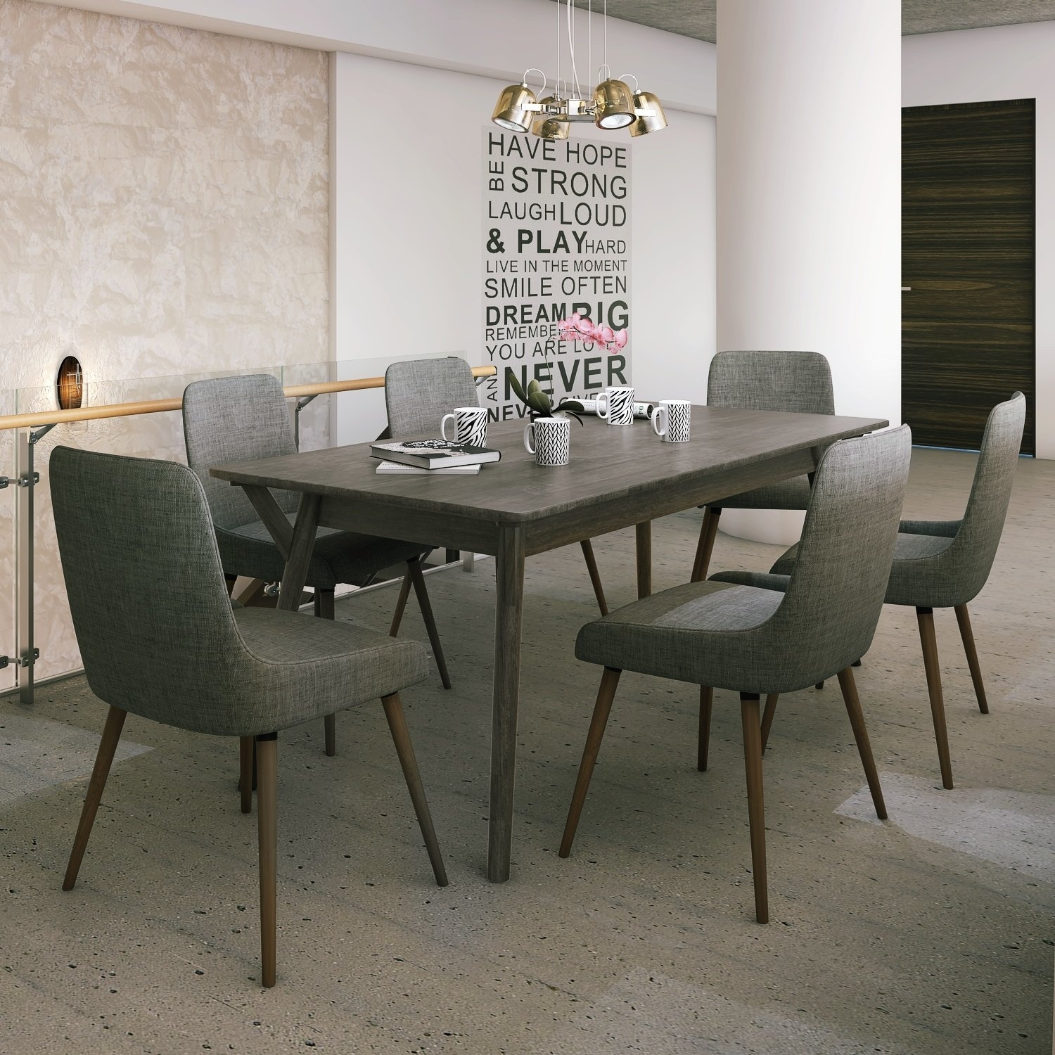 Latitude Run Chelmsford 7 Piece Dining Set | Wayfair Throughout Latest Helms Rectangle Dining Tables (Image 14 of 20)