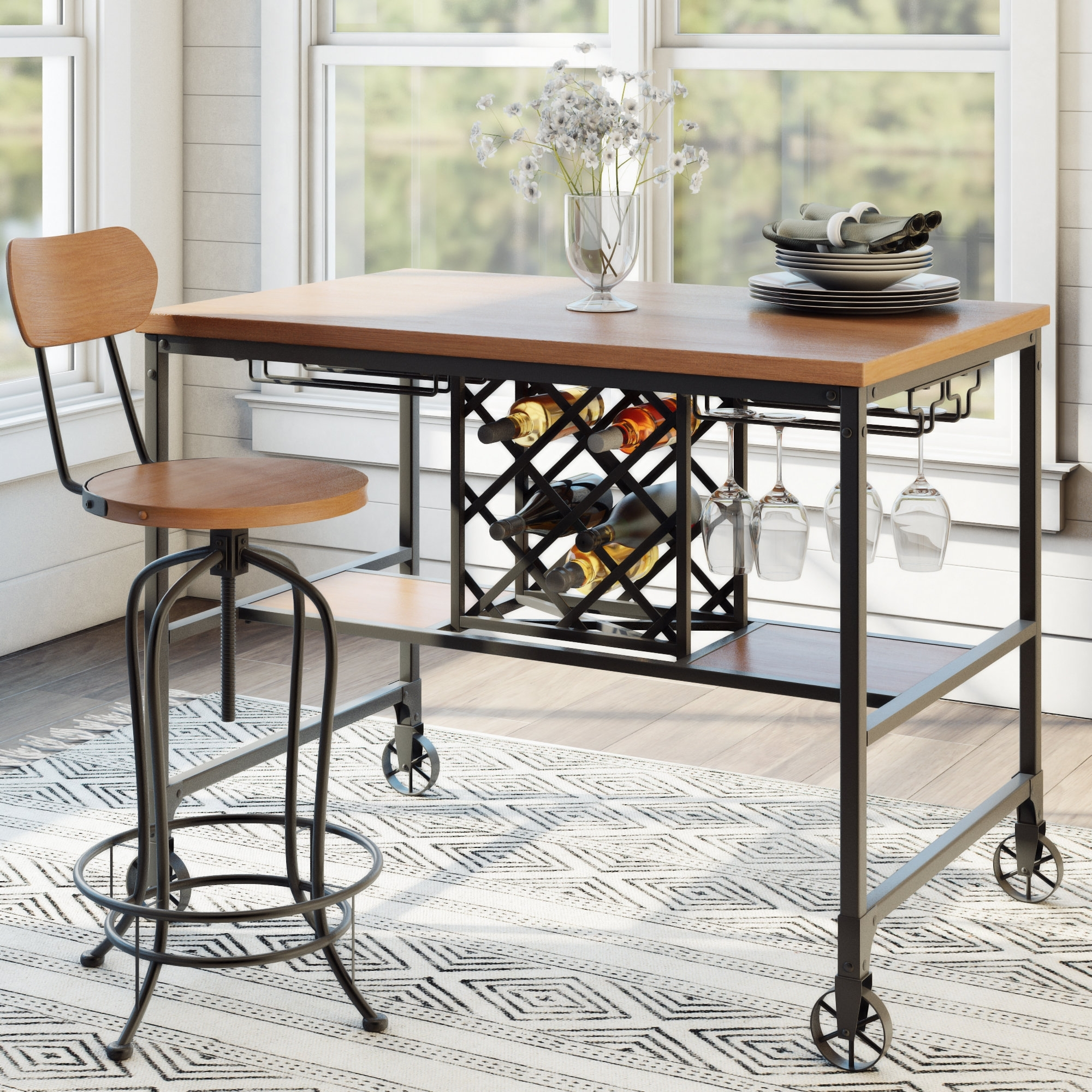 Laurel Foundry Modern Farmhouse Elberton 5 Piece Counter Height Intended For Most Up To Date Caira Black 5 Piece Round Dining Sets With Upholstered Side Chairs (Image 14 of 20)
