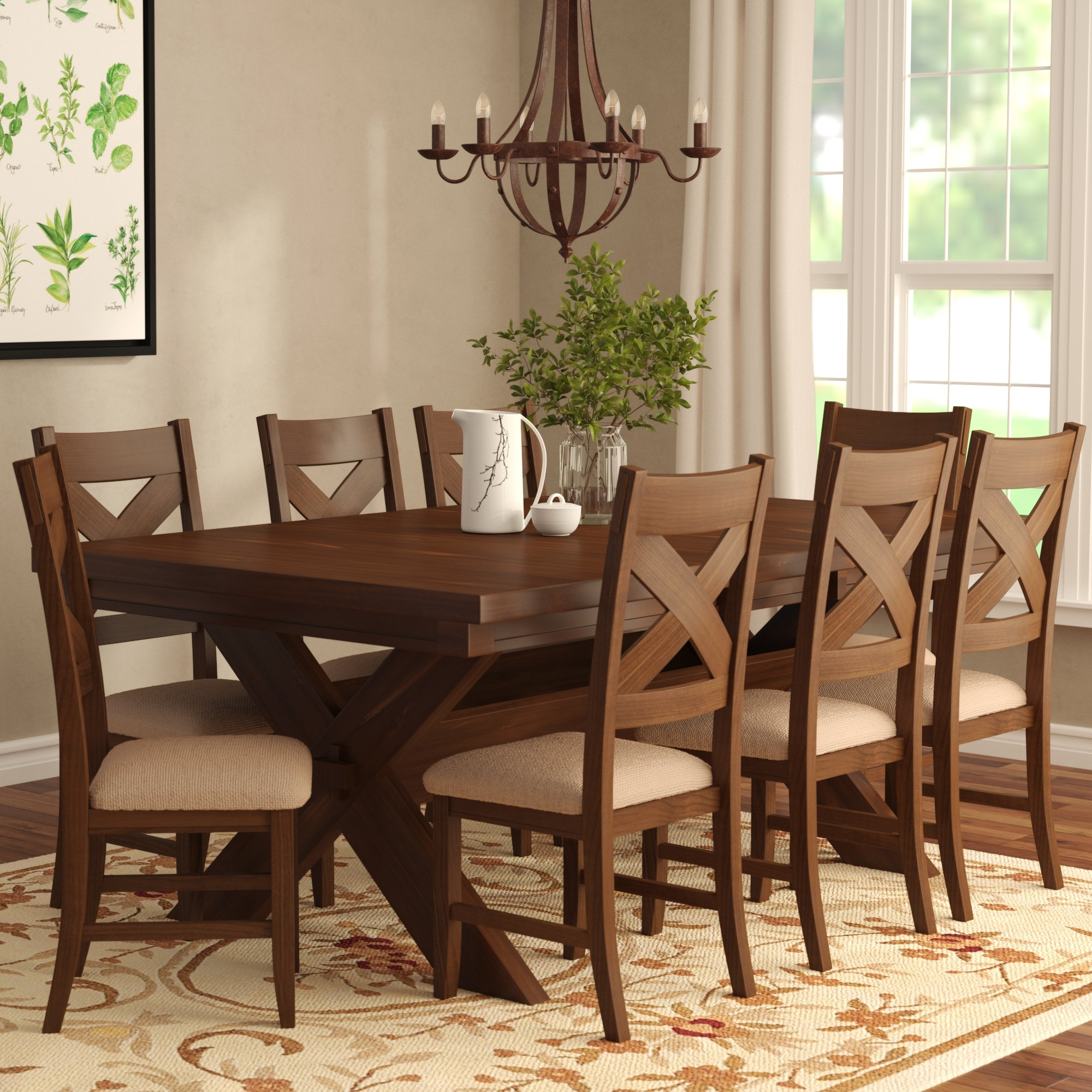 Laurel Foundry Modern Farmhouse Isabell 9 Piece Dining Set & Reviews Throughout Most Current Caden 7 Piece Dining Sets With Upholstered Side Chair (Photo 17 of 20)