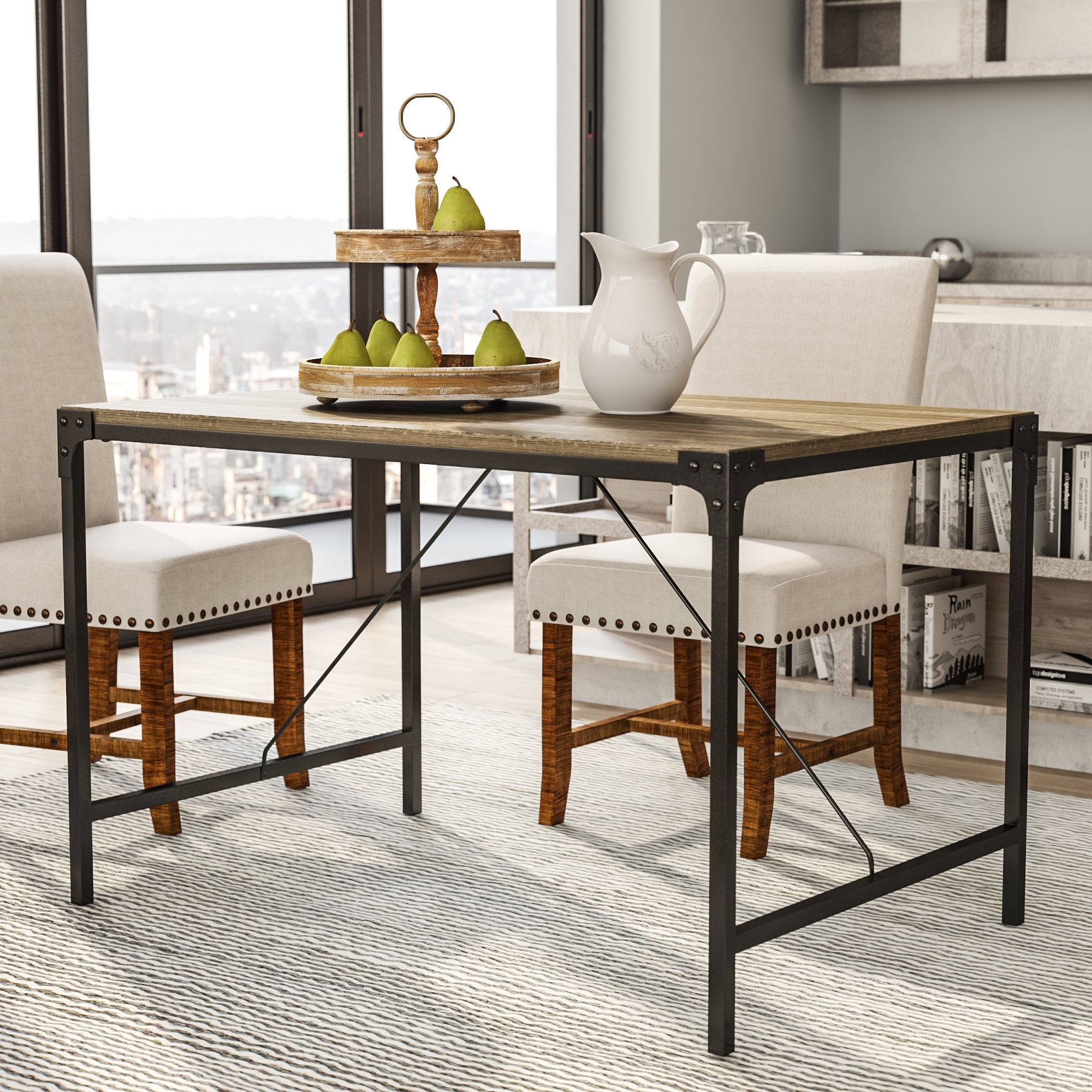 Laurel Foundry Modern Farmhouse Madeline Angle Iron And Wood Dining Pertaining To 2018 Iron And Wood Dining Tables (View 14 of 20)