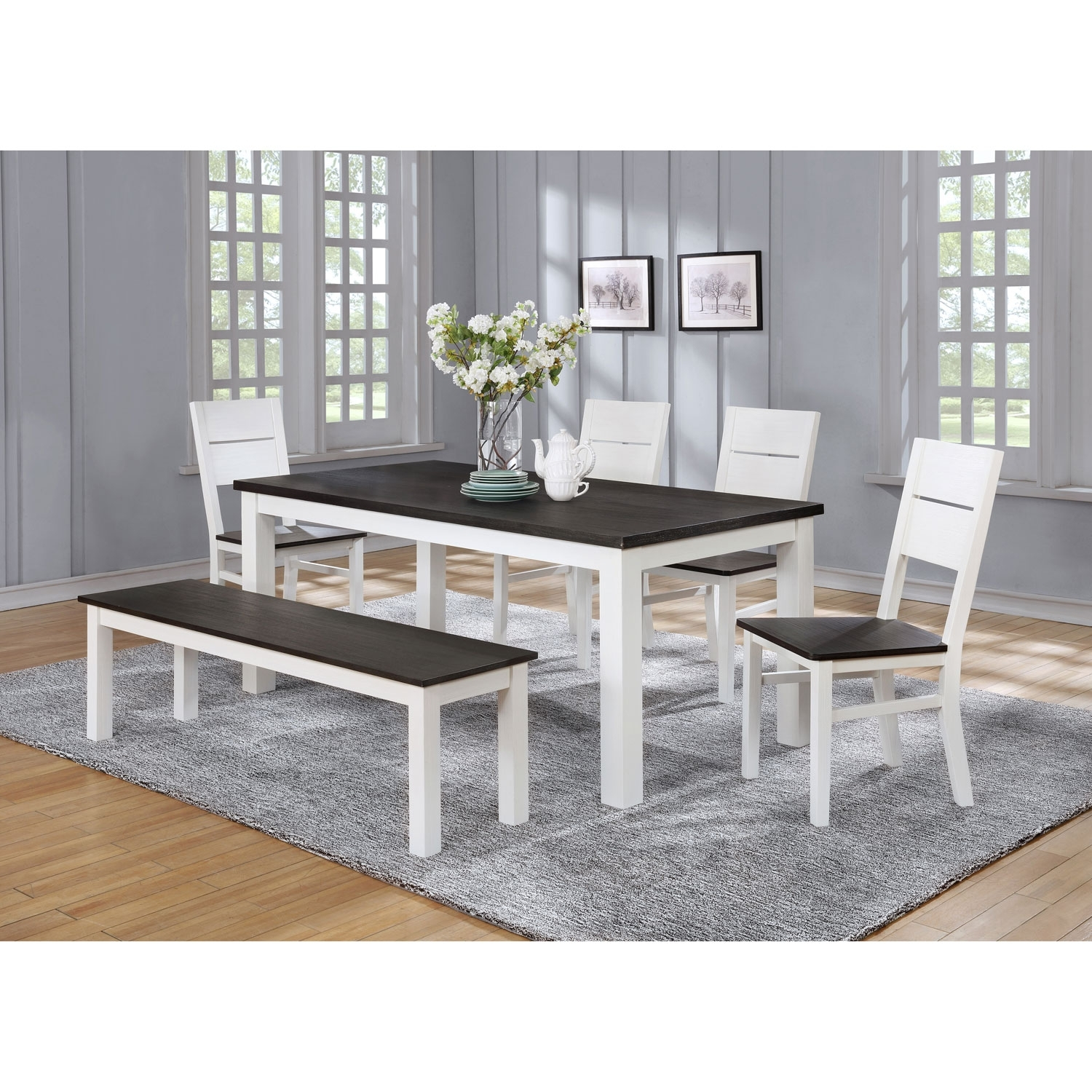 Lauren Traditional 6 Seating Rectangular Casual Dining Table – White Regarding Best And Newest Laurent 7 Piece Rectangle Dining Sets With Wood Chairs (View 13 of 20)
