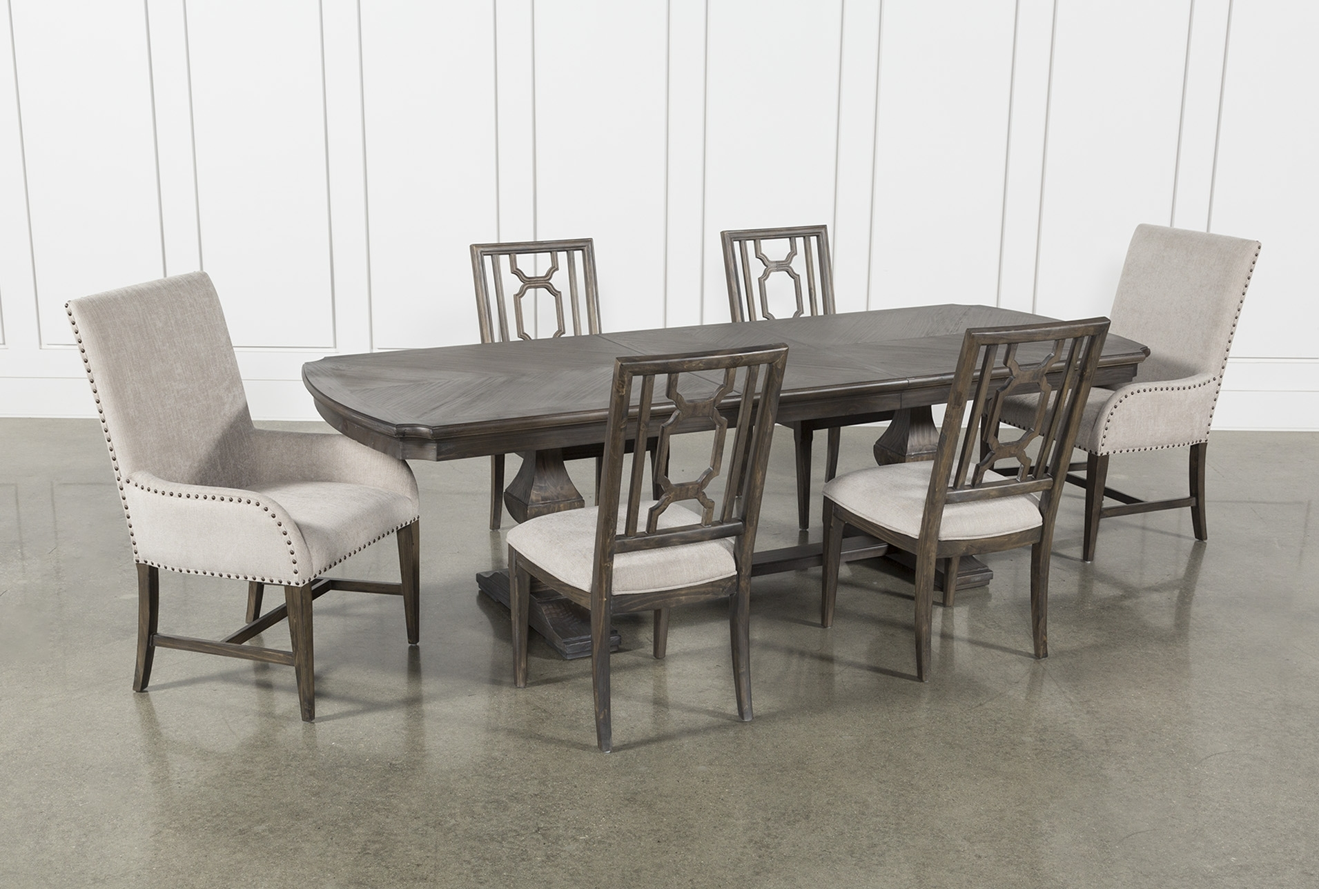 Laurent 7 Piece Rectangle Dining Set With Wood And Host Chairs Within Current Laurent 7 Piece Rectangle Dining Sets With Wood Chairs (View 1 of 20)