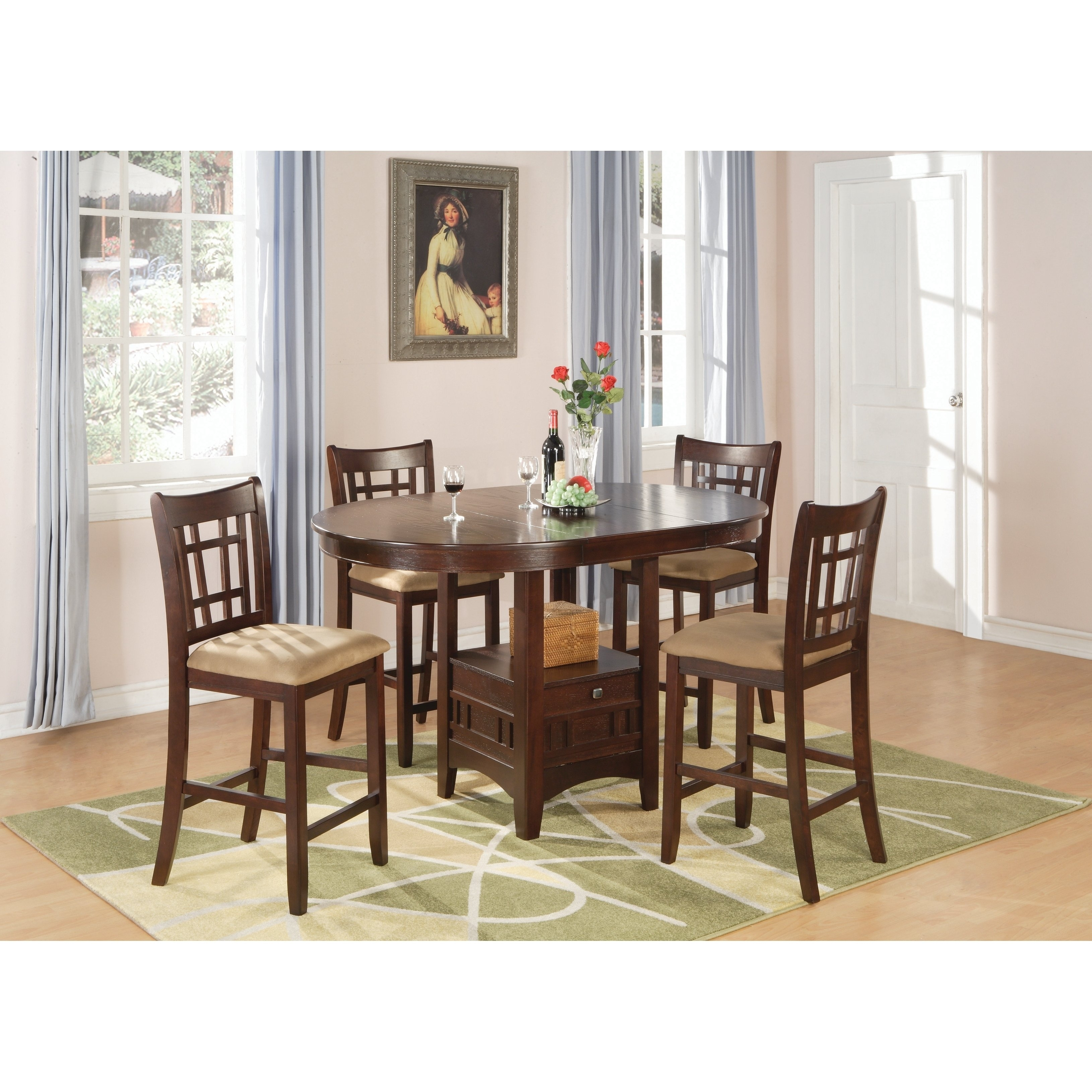 Lavon Transitional Warm Brown 5 Piece Counter Height Dining Set In Best And Newest Jaxon 5 Piece Extension Counter Sets With Fabric Stools (Image 13 of 20)