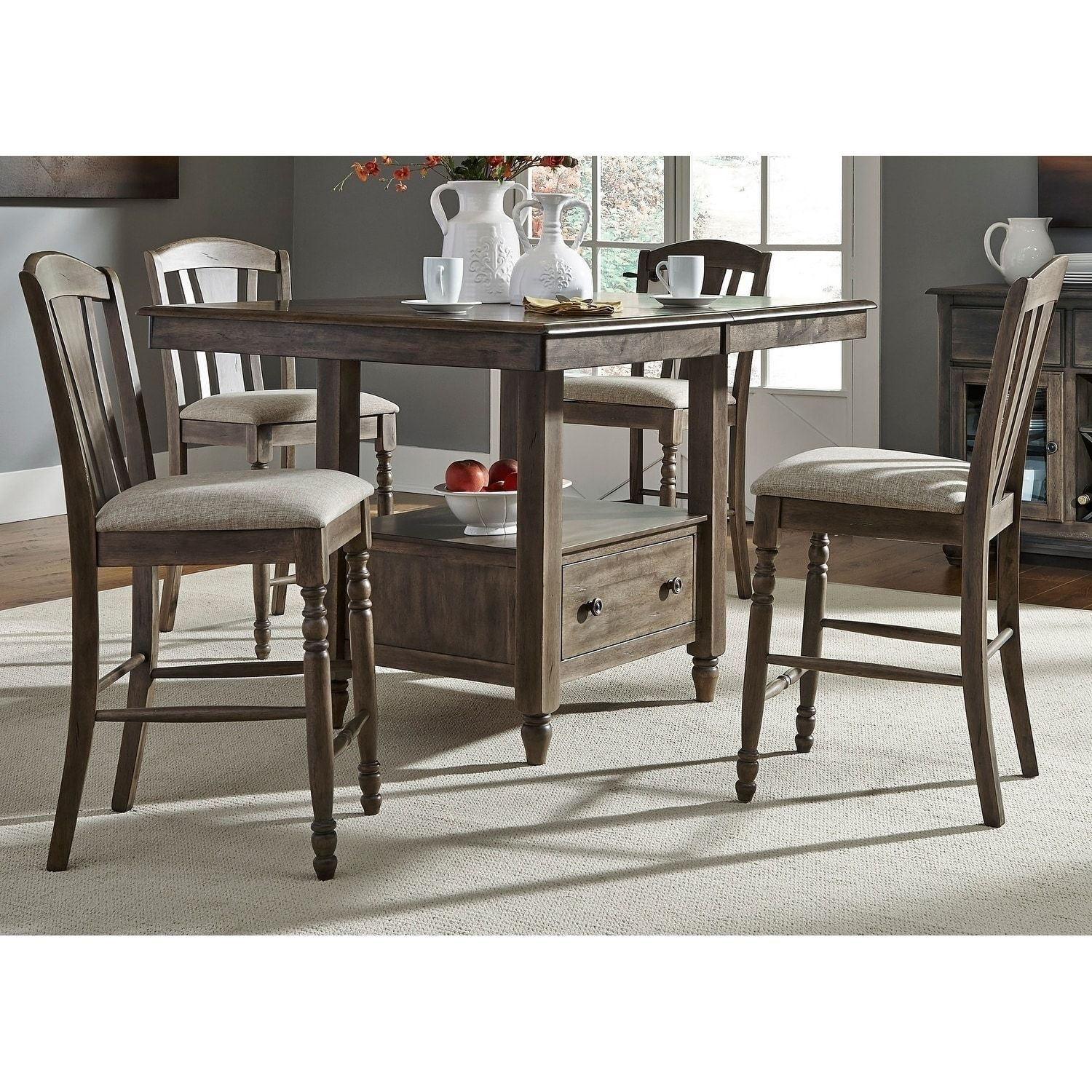 Liberty Candlewood Weather Grey 7 Piece Slat Back Gathering Dinette Within Most Popular Combs 5 Piece Dining Sets With Mindy Slipcovered Chairs (View 18 of 20)