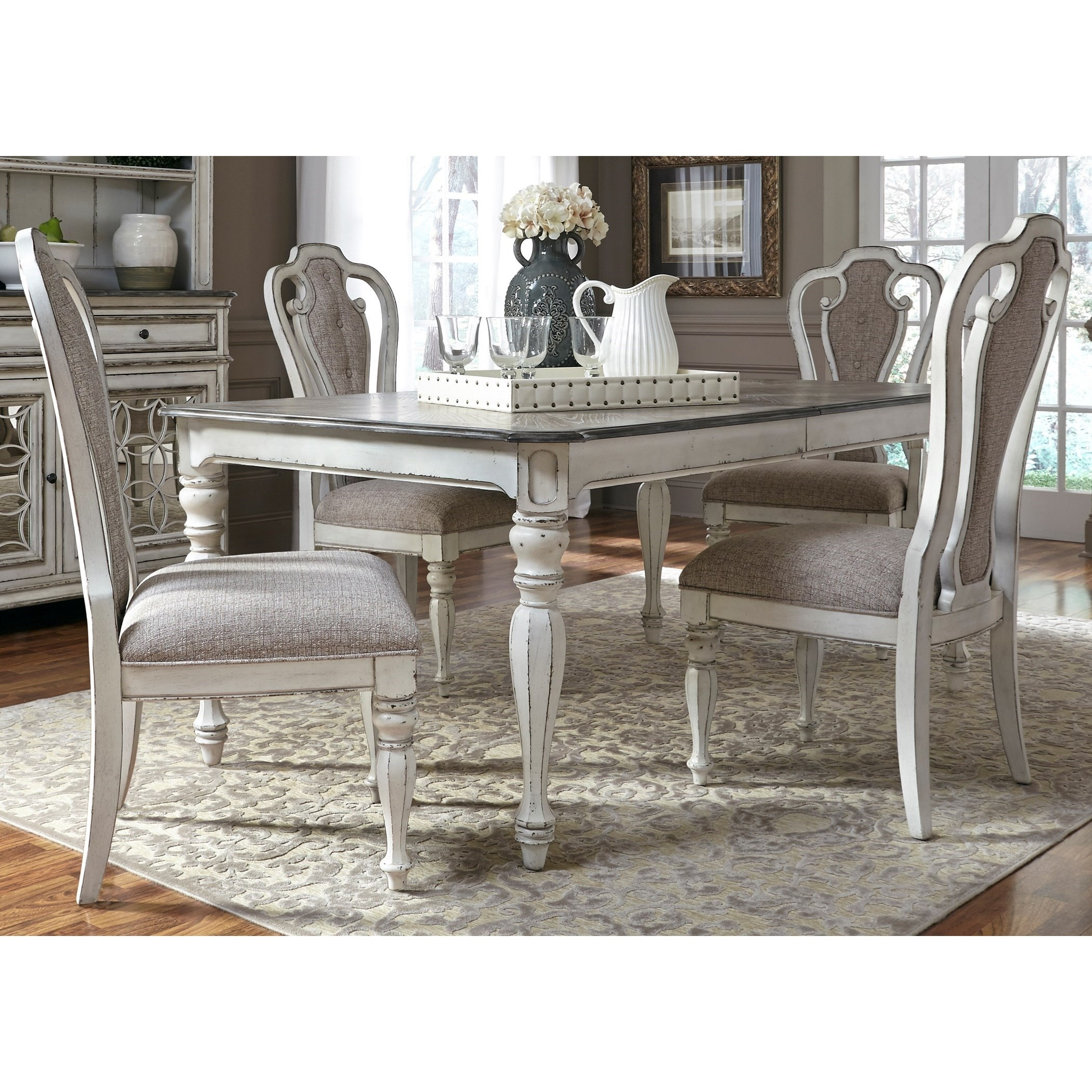 Liberty Furniture Magnolia Manor Dining 5 Piece Rectangular Table Pertaining To Newest Jaxon 5 Piece Extension Counter Sets With Wood Stools (Image 13 of 20)