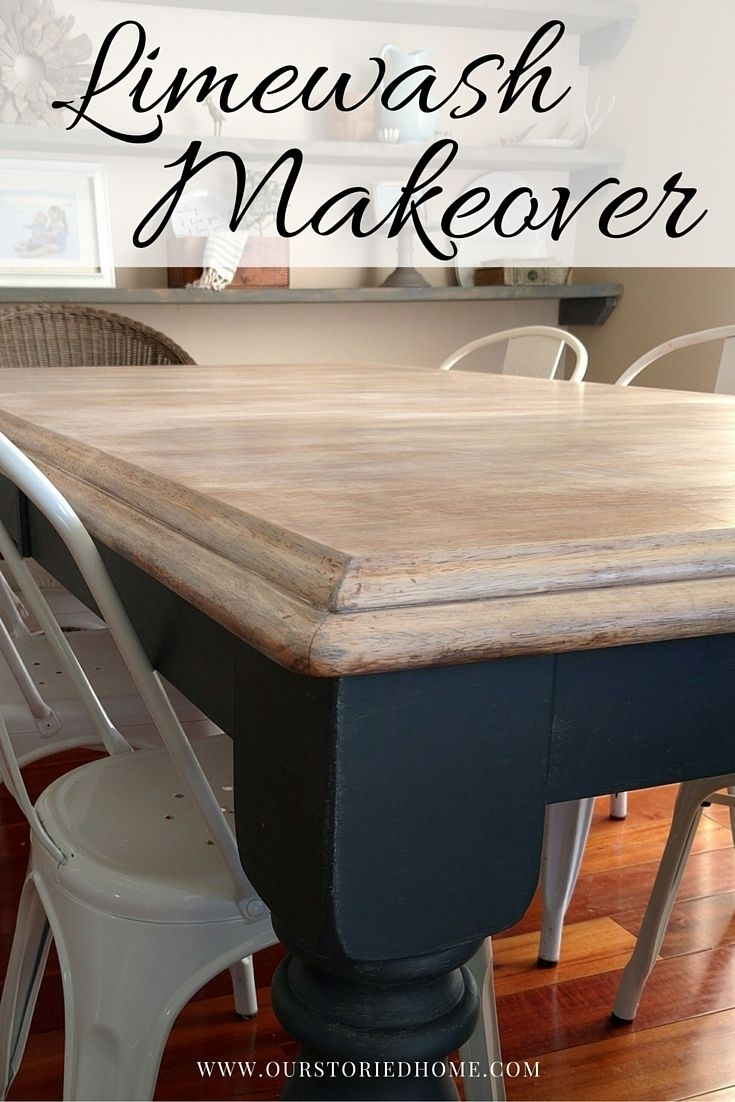 Limewashed Table Makeover | Just Random Stuff | Pinterest For 2017 Washed Old Oak & Waxed Black Legs Bar Tables (View 16 of 20)