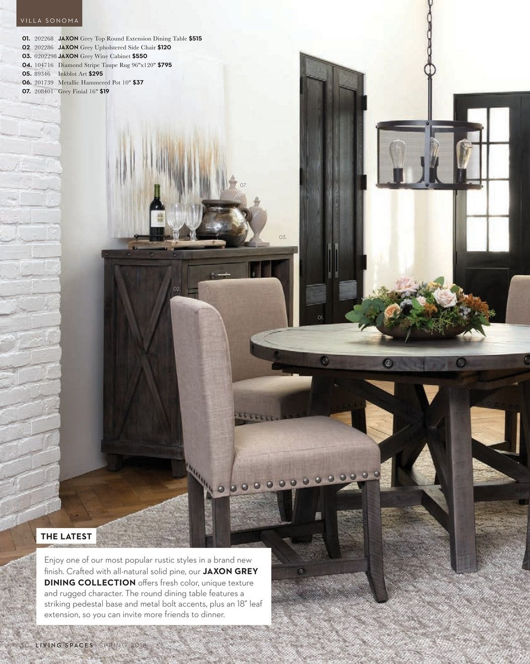 Living Spaces – Spring 2018 – Jaxon Grey Round Extension Dining Within Most Popular Jaxon Grey Rectangle Extension Dining Tables (Image 14 of 20)