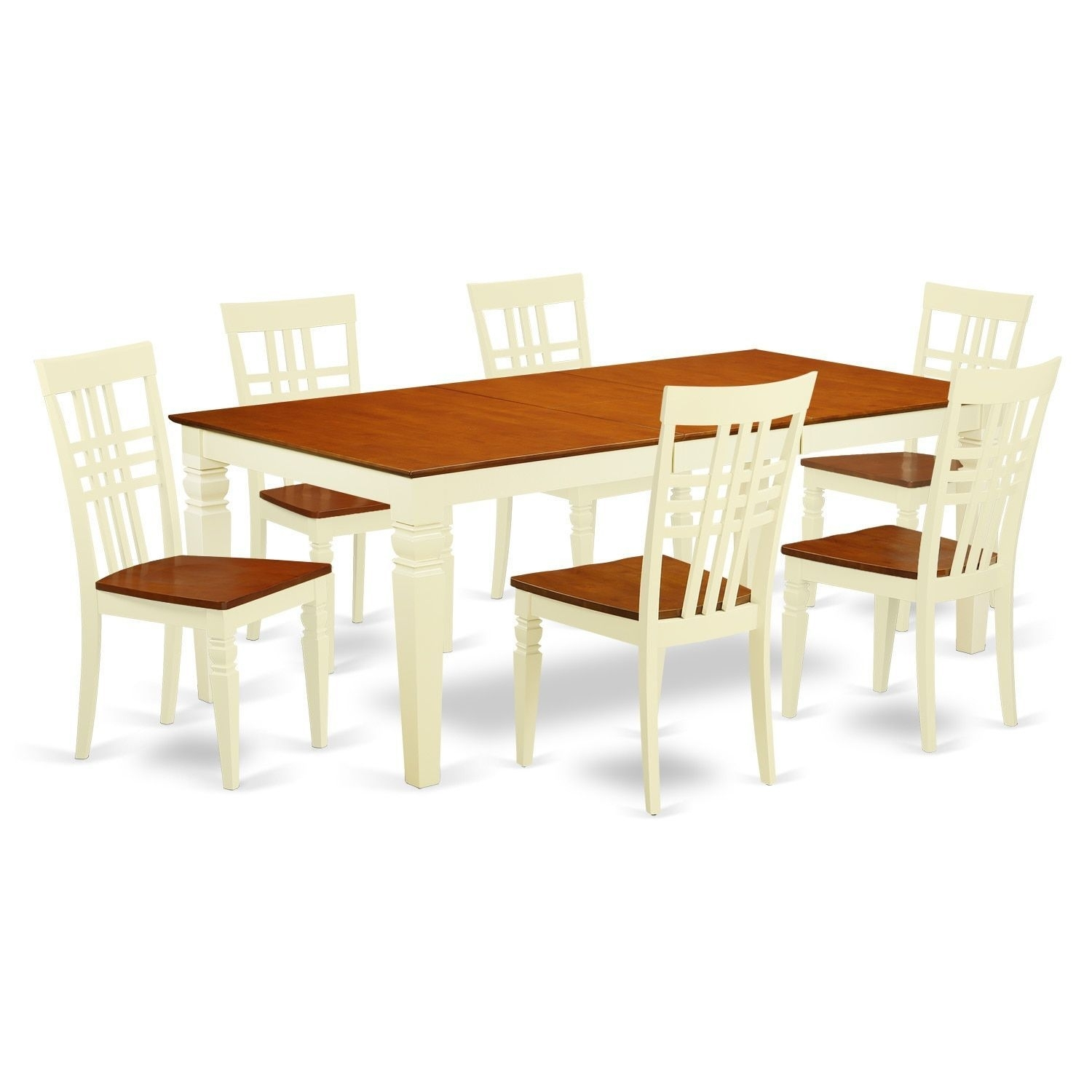 Logan Wood Extendable Dining Table And 6 Chairs Set (Buttermilk Intended For Recent Logan 6 Piece Dining Sets (Image 9 of 20)