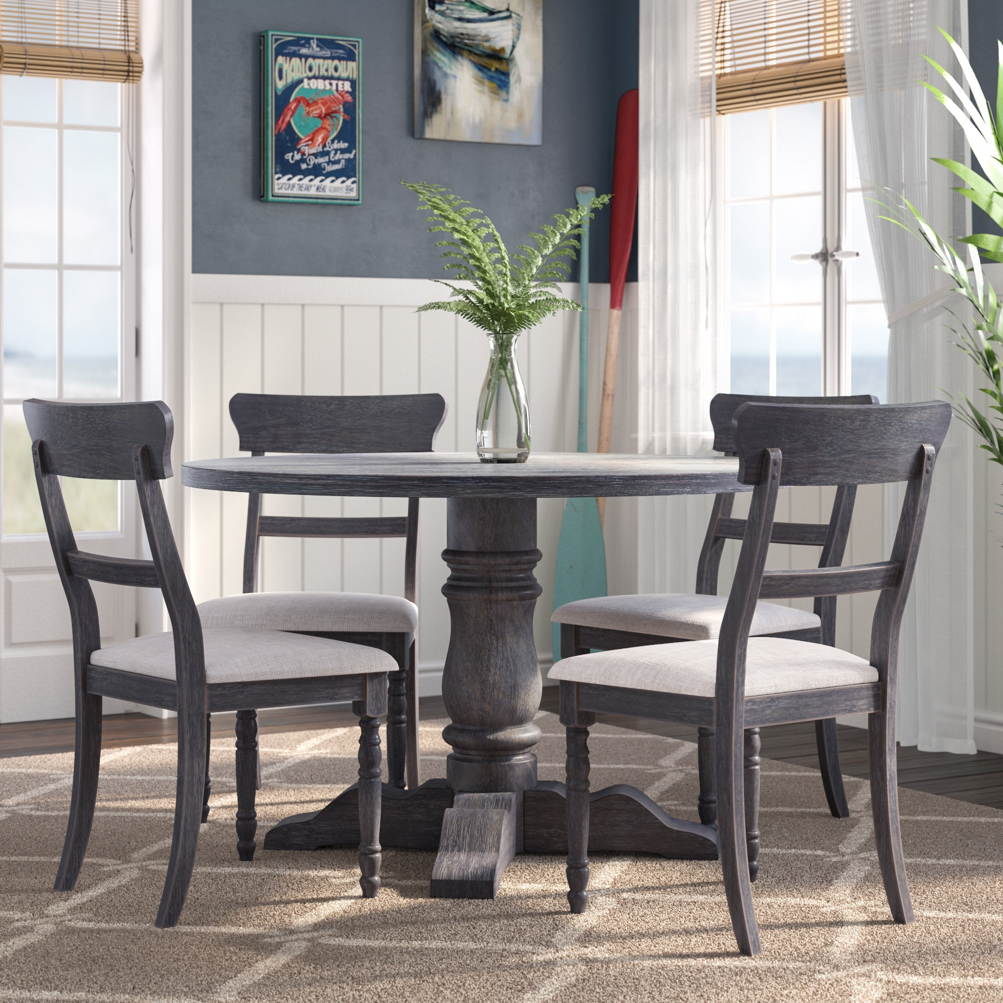 Longshore Tides Silverman 5 Piece Dining Set & Reviews | Wayfair Inside Most Recent Jaxon 5 Piece Extension Round Dining Sets With Wood Chairs (Image 14 of 20)
