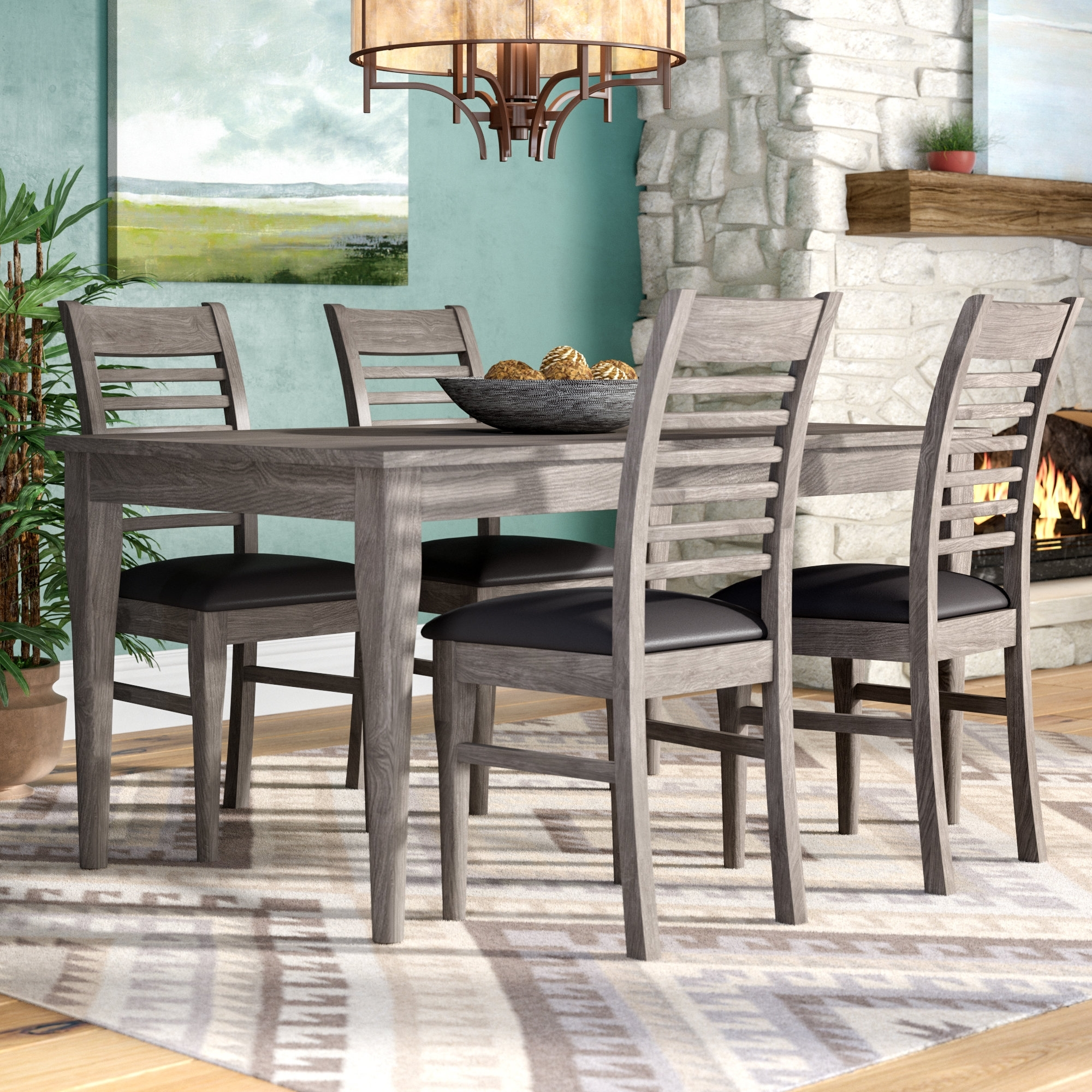 Loon Peak Alguno 5 Piece Dining Set & Reviews | Wayfair Within Most Current Cora 7 Piece Dining Sets (Image 15 of 20)