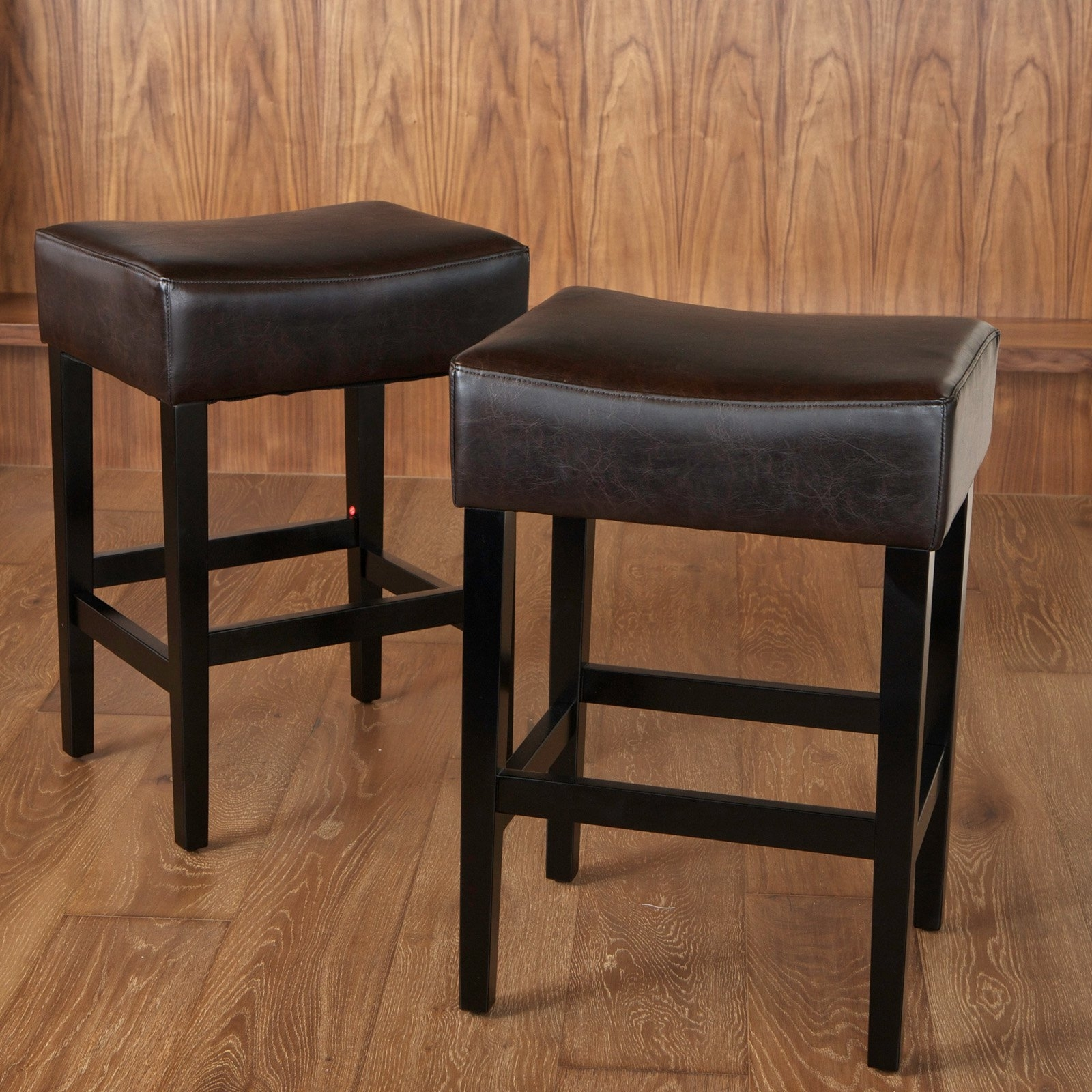 Lopez Backless Brown Leather Counter Stools – 2 Pack – Walmart With Regard To Current Laurent 7 Piece Counter Sets With Wood Counterstools (Image 4 of 20)