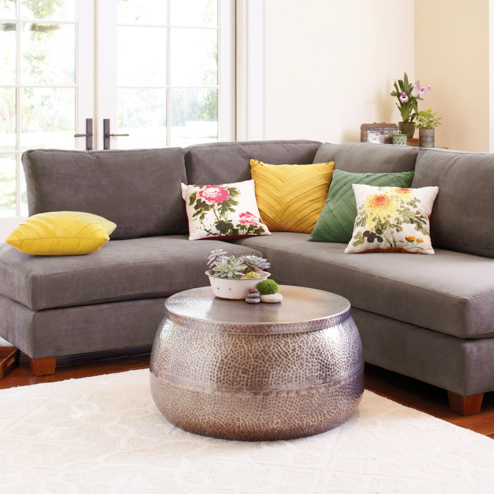 Love The Center Table And Fun Colors Of The Throw Pillows! Charcoal With Regard To Recent Wyatt 6 Piece Dining Sets With Celler Teal Chairs (Image 14 of 20)