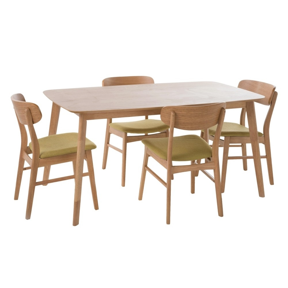 Lucious 60 5 – Piece Dining Set – Natural Oak/green Tea Regarding Newest Macie 5 Piece Round Dining Sets (Image 14 of 20)