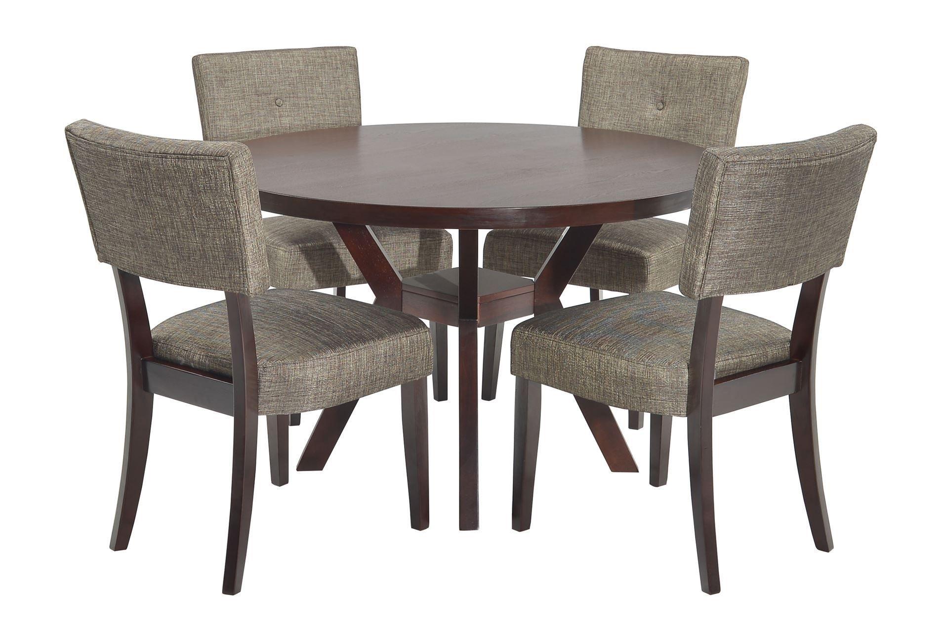 Macie 5 Piece Round Dining Set, Brown | Round Dining Set, Round Inside Best And Newest Macie Round Dining Tables (Image 12 of 20)