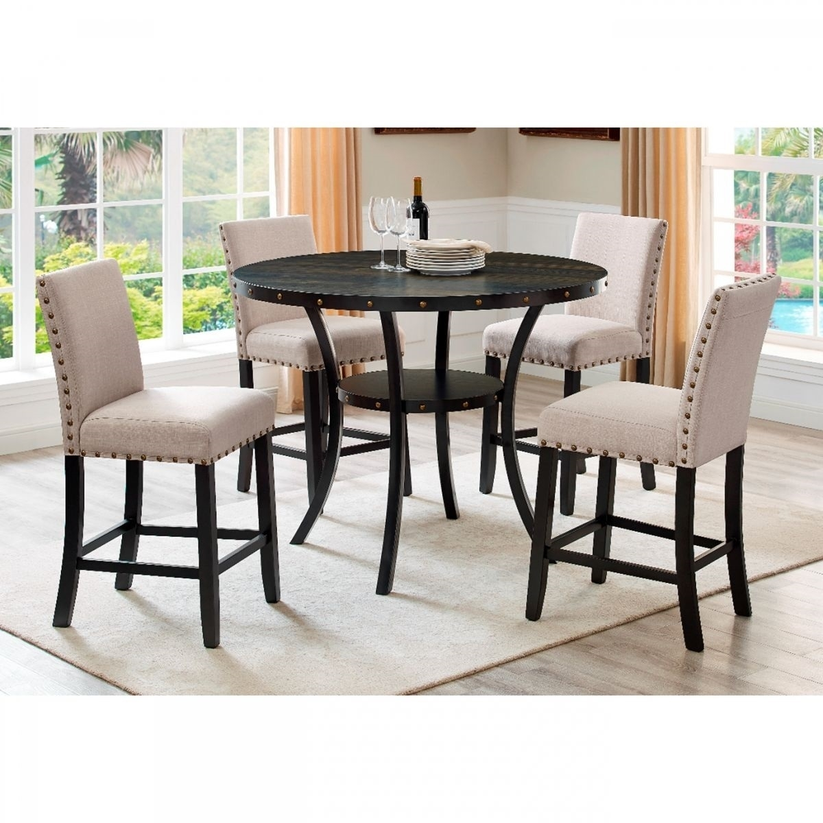 Madison 5 Pc Counter Height Dining Room | Badcock & More For 2018 Valencia 3 Piece Counter Sets With Bench (Image 9 of 20)
