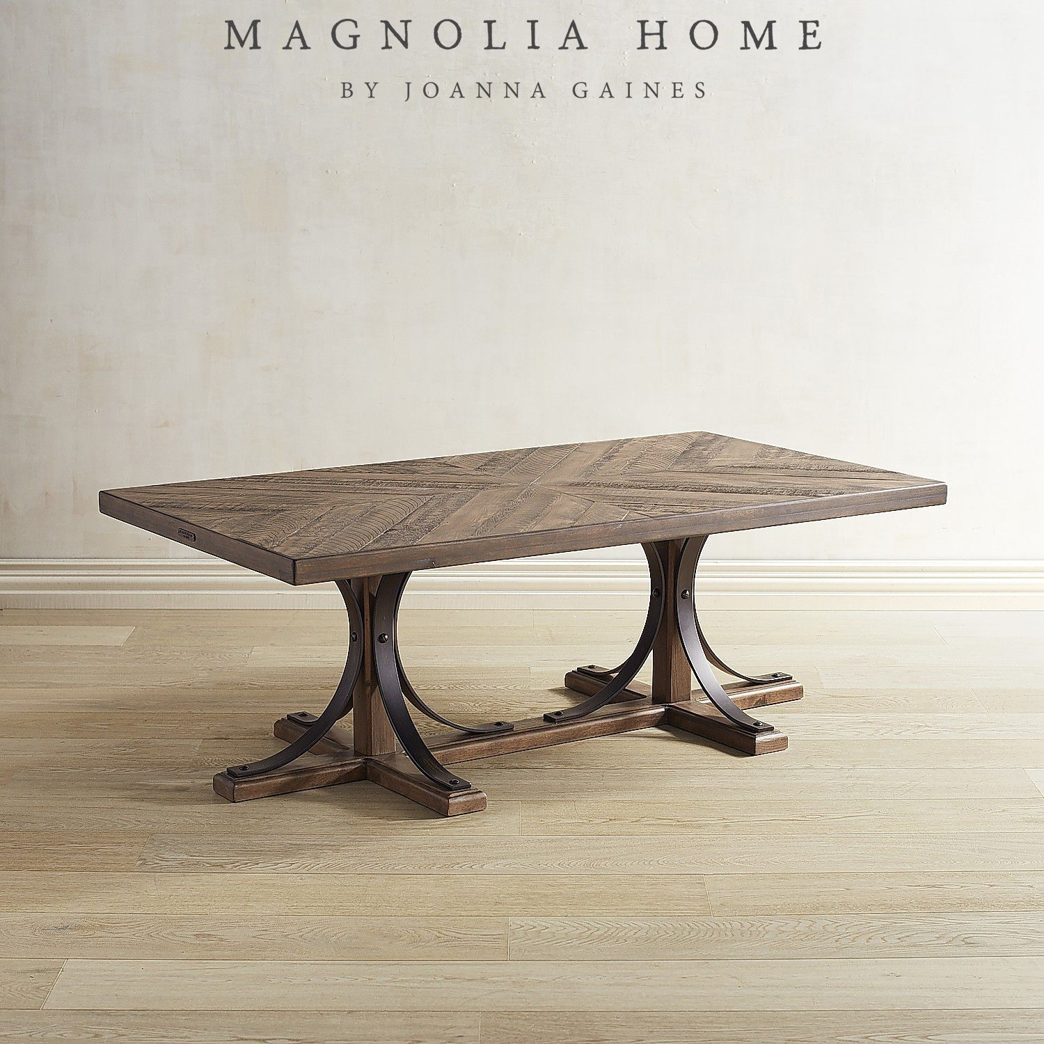 Magnolia Home Iron Trestle Shop Floor Coffee Table Brown | Diy Regarding 2018 Magnolia Home Shop Floor Dining Tables With Iron Trestle (Photo 12 of 20)