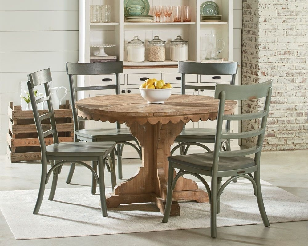 Magnolia Home – Top Tier Pedestal Table Setting | Furnishings In With Regard To Most Recent Combs 5 Piece 48 Inch Extension Dining Sets With Mindy Side Chairs (Image 13 of 20)