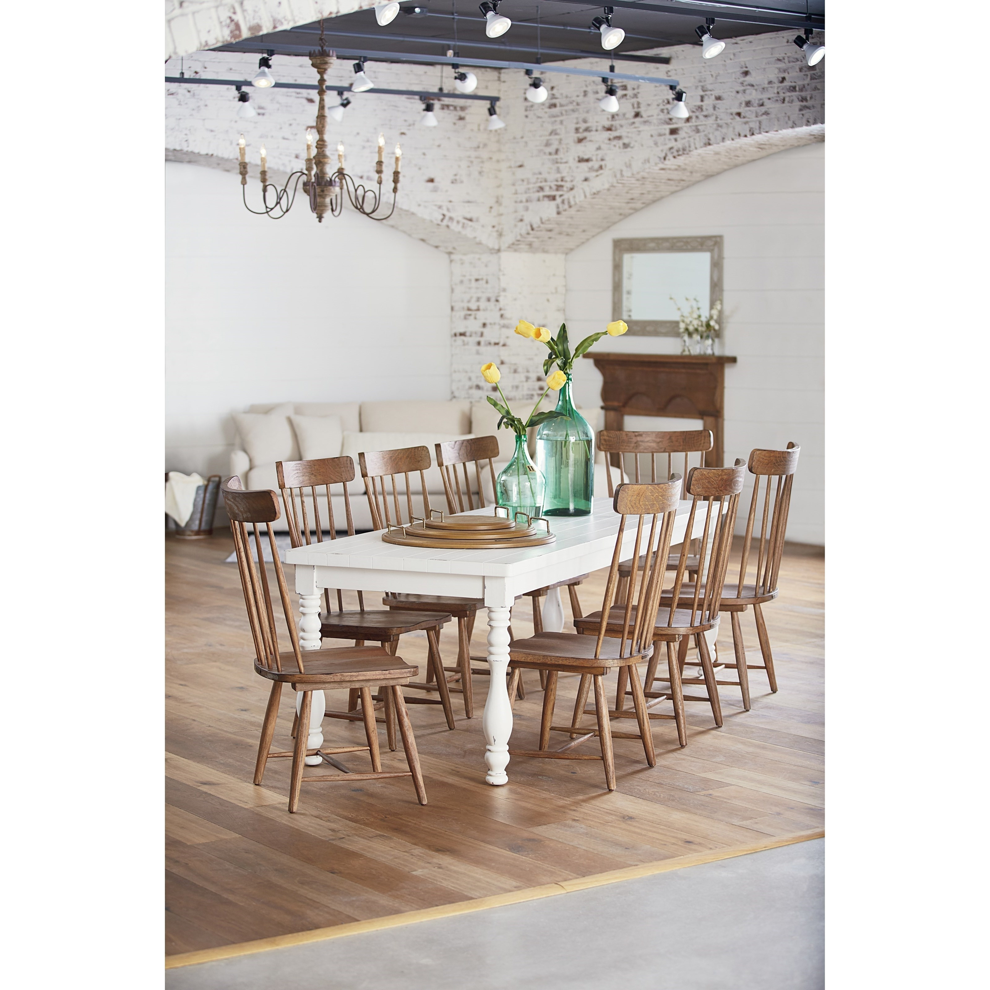 Magnolia Homejoanna Gaines Farmhouse 9 Piece Dining Set With Regarding Newest Magnolia Home Double Pedestal Dining Tables (Image 17 of 20)