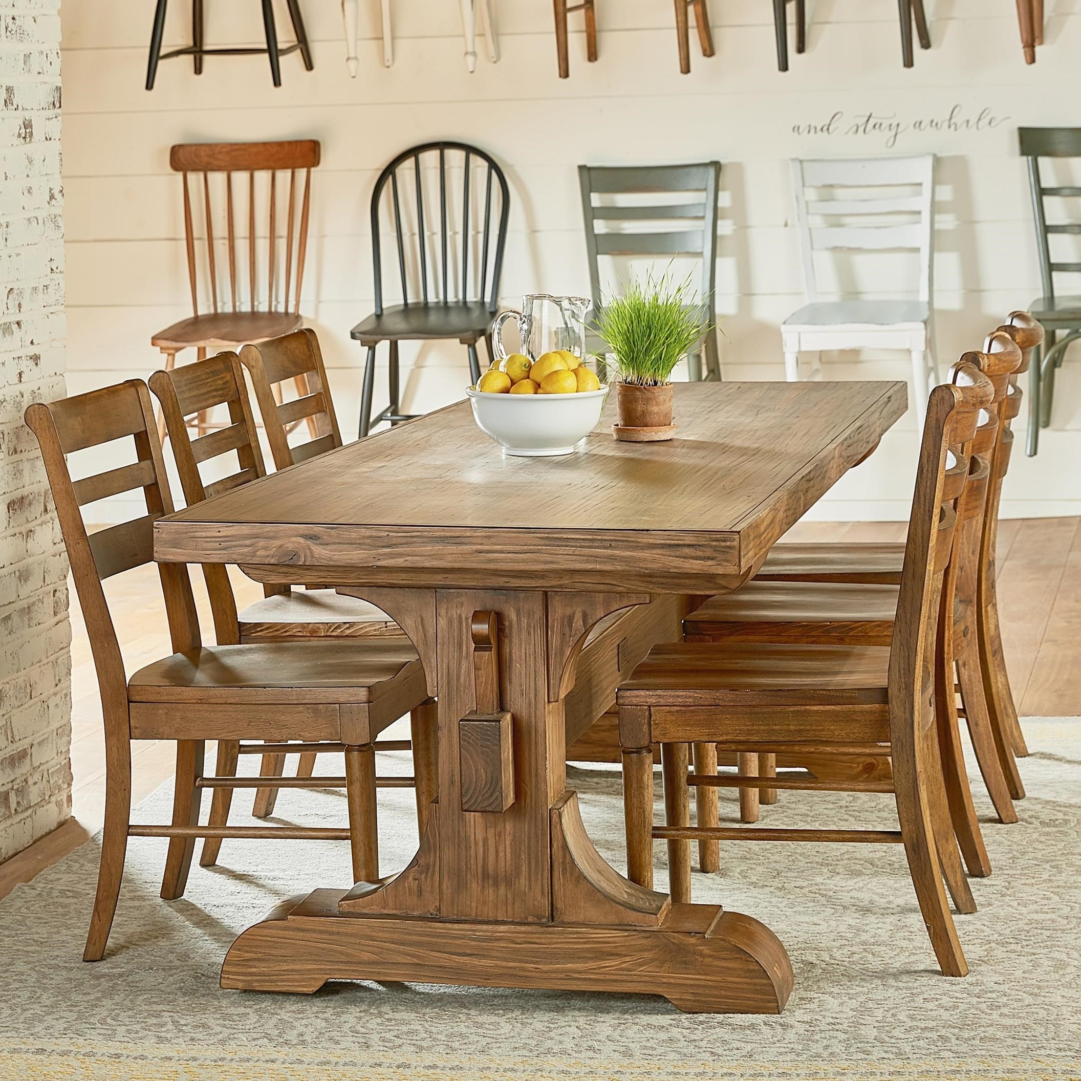 Magnolia Homejoanna Gaines Farmhouse Seven Piece Trestle Table For Most Popular Magnolia Home Top Tier Round Dining Tables (Image 12 of 20)