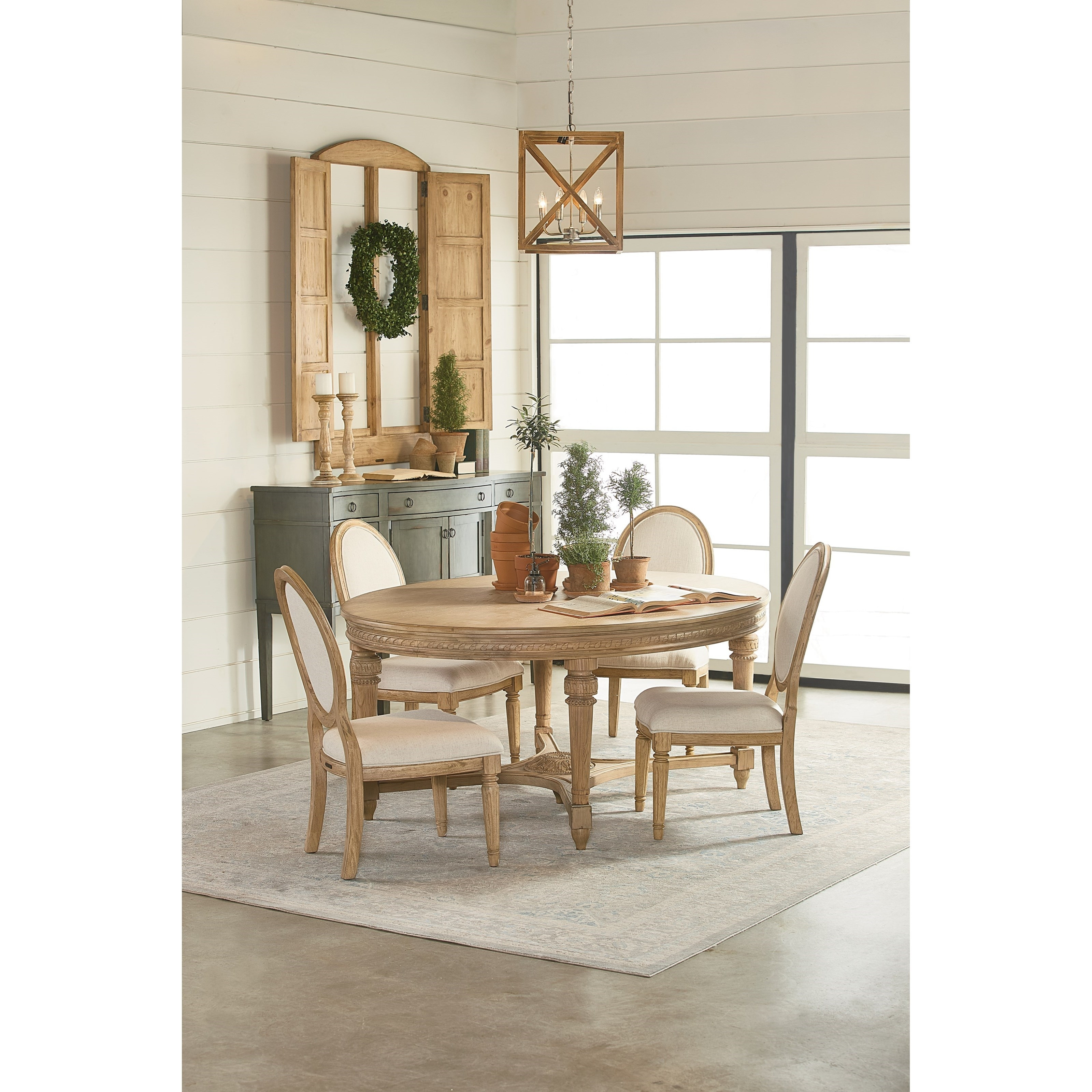 Magnolia Homejoanna Gaines Traditional Round Five Piece Dining For Recent Magnolia Home Double Pedestal Dining Tables (Image 18 of 20)