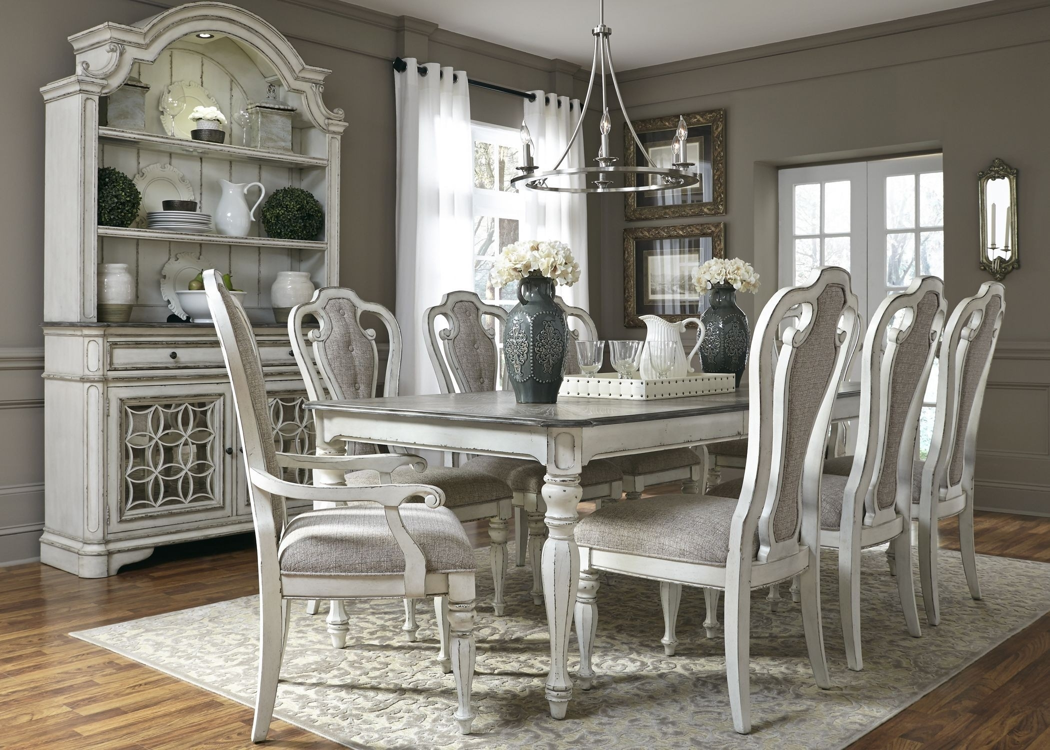 "Magnolia Manor Antique White 108"" Extendable Rectangular Dining Room Regarding Latest Magnolia Home Prairie Dining Tables (Image 13 of 20)"