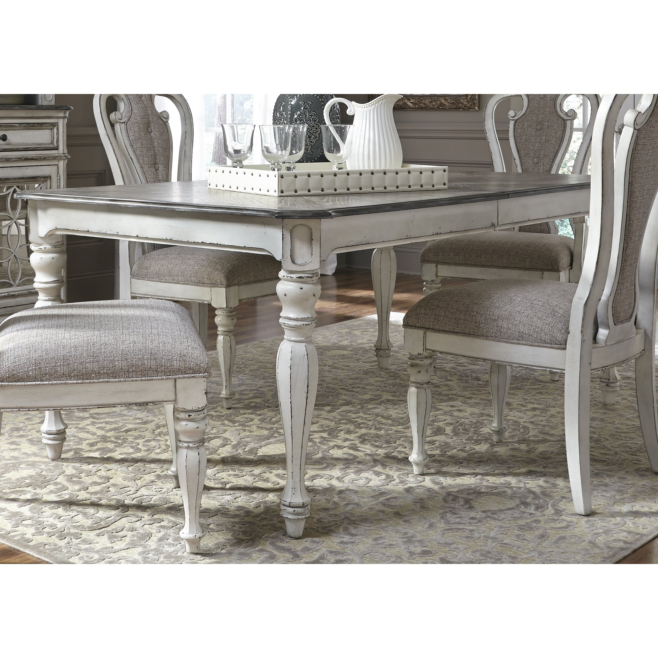 Magnolia Manor Antique White 44X108 Dinette Table – Antique White With Regard To Recent Magnolia Home Breakfast Round Black Dining Tables (Image 16 of 20)