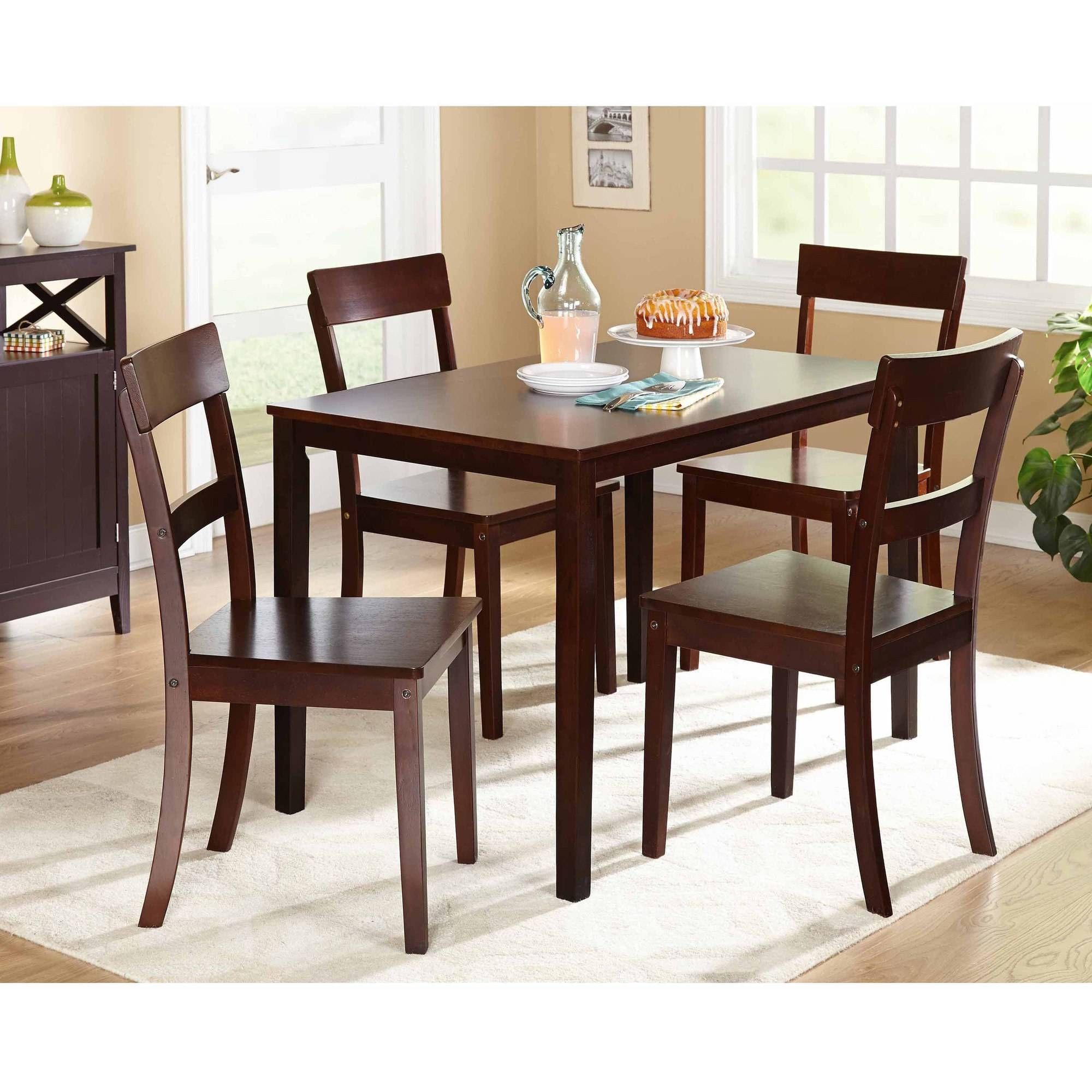 Mainstays 5 Piece Faux Marble Top Dining Set Walmart For Walmart Inside Most Current Harper 5 Piece Counter Sets (Image 11 of 20)