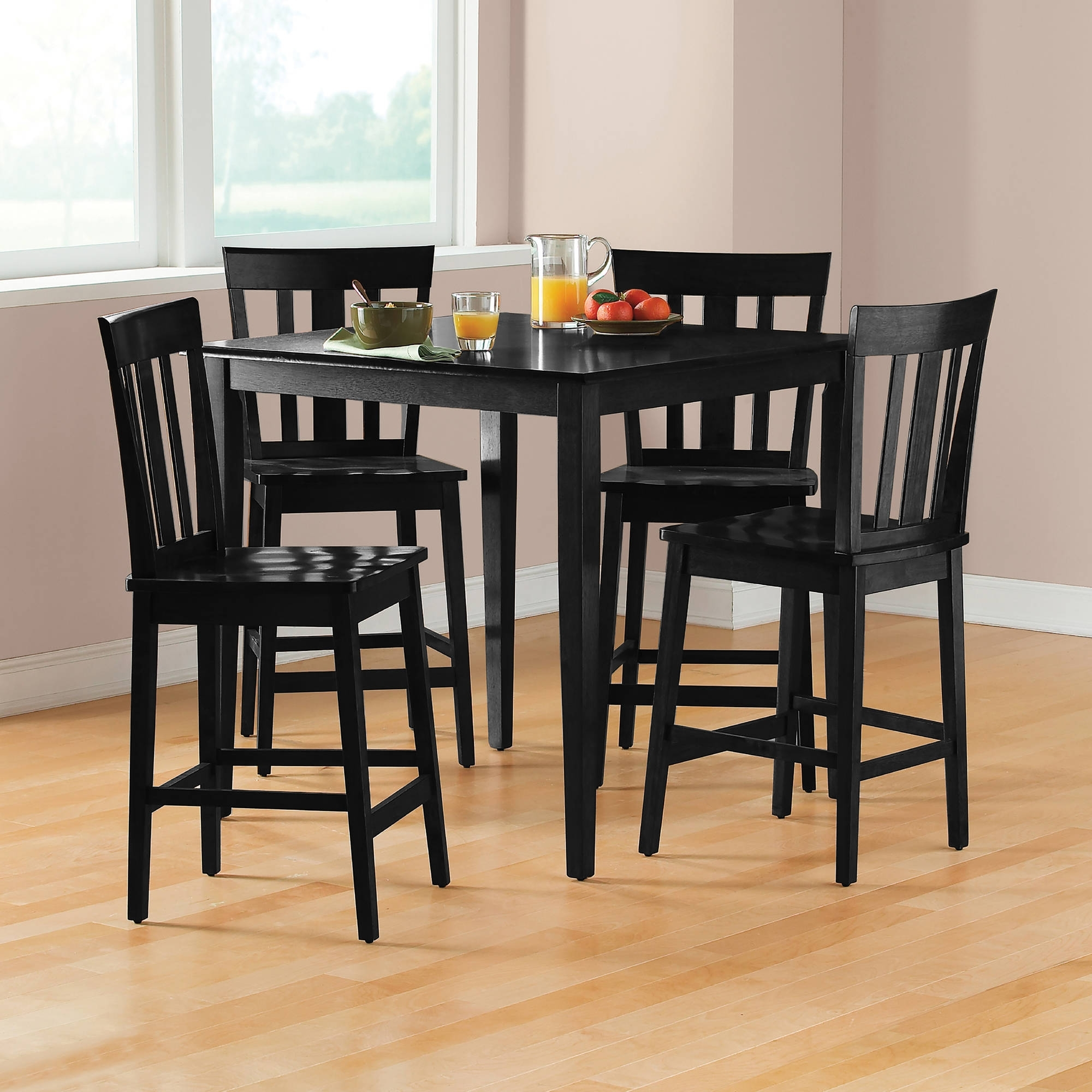 Mainstays 5 Piece Mission Counter Height Dining Set – Walmart In Latest Laurent 7 Piece Rectangle Dining Sets With Wood Chairs (View 20 of 20)