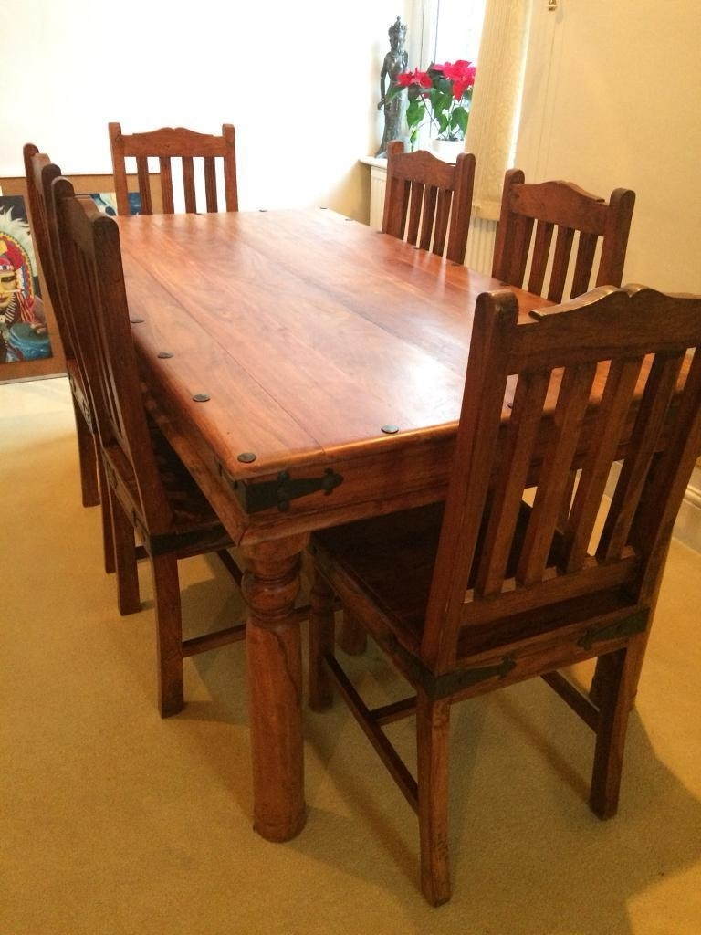 Mango Wood & Cast Iron Dining Table With 6 Chairs | In Harrogate Regarding Current Mango Wood/iron Dining Tables (Photo 13 of 20)