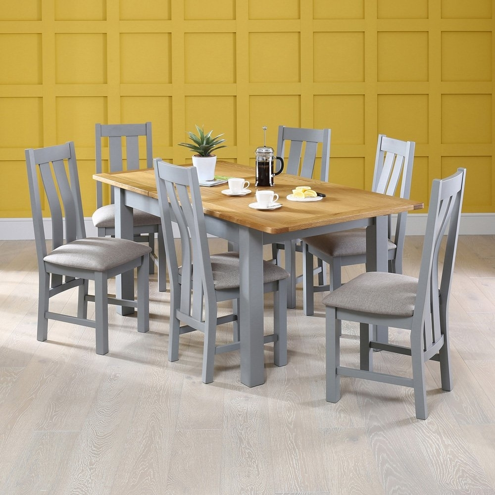 Manor Grey Painted Dining Table With Oak Top With 6X Dining Chairs Regarding Most Current Market 6 Piece Dining Sets With Side Chairs (View 11 of 20)