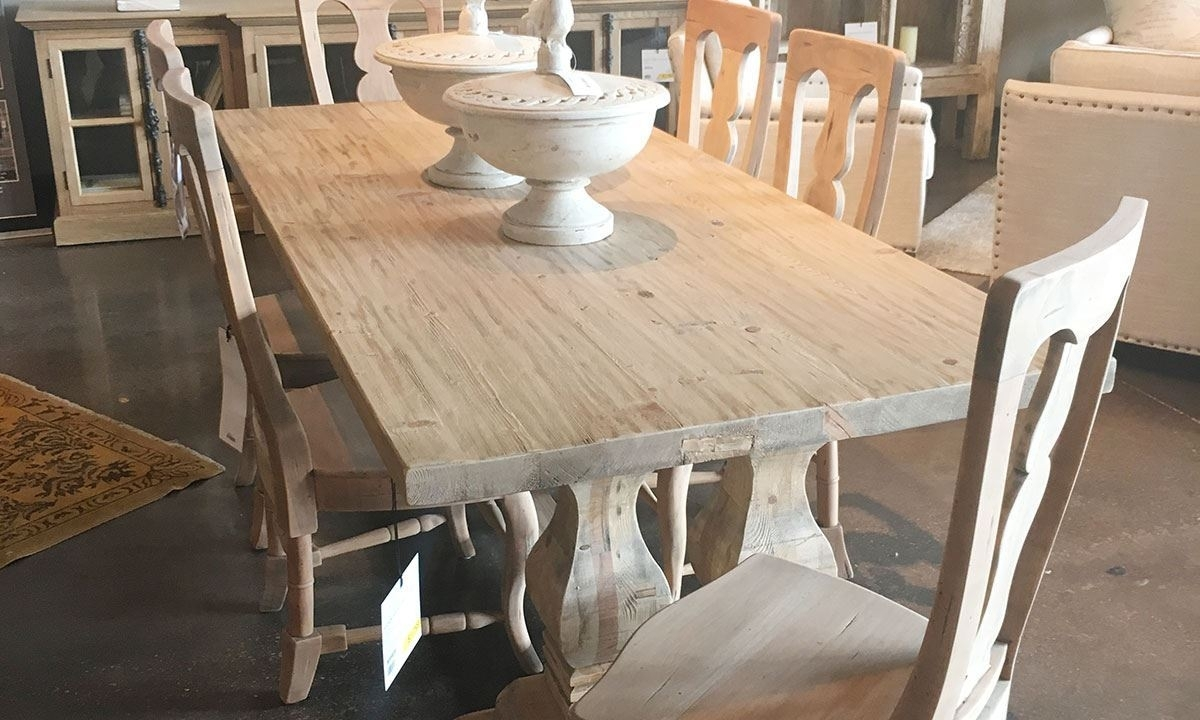 Manor House Reclaimed Pine & Elm Trestle Table | The Dump Luxe With Most Recent Natural Wood & Recycled Elm 87 Inch Dining Tables (Image 11 of 20)