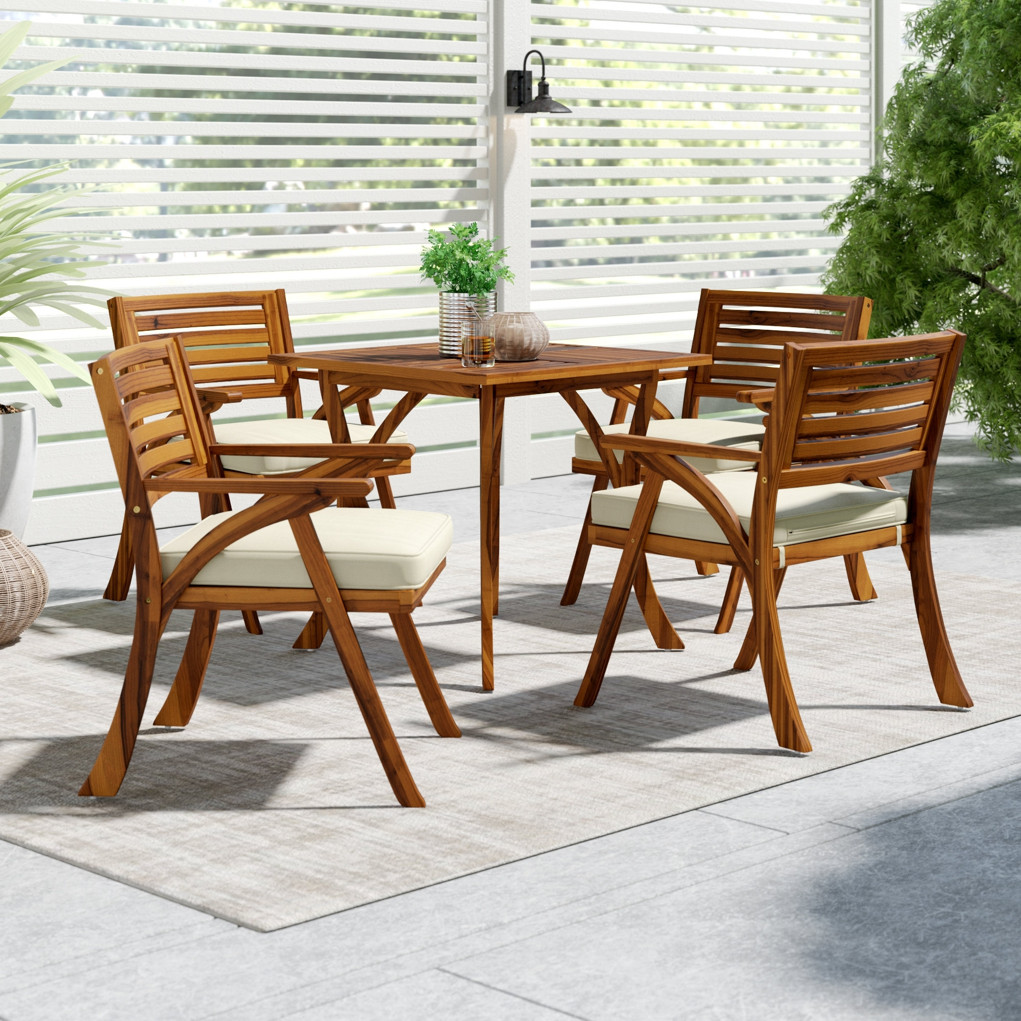Mercury Row Ajax 5 Piece Dining Set With Cushions & Reviews | Wayfair For Most Up To Date Kirsten 6 Piece Dining Sets (Image 14 of 20)