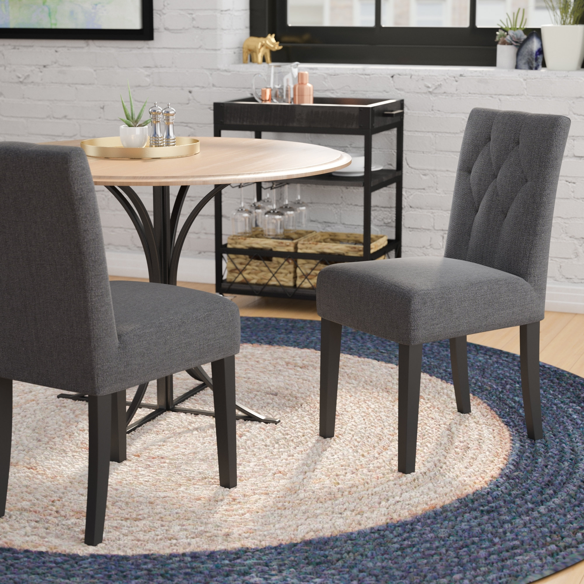 Mercury Row Balas Upholstered Dining Side Chair & Reviews | Wayfair In Recent Bale Rustic Grey Dining Tables (Image 15 of 20)
