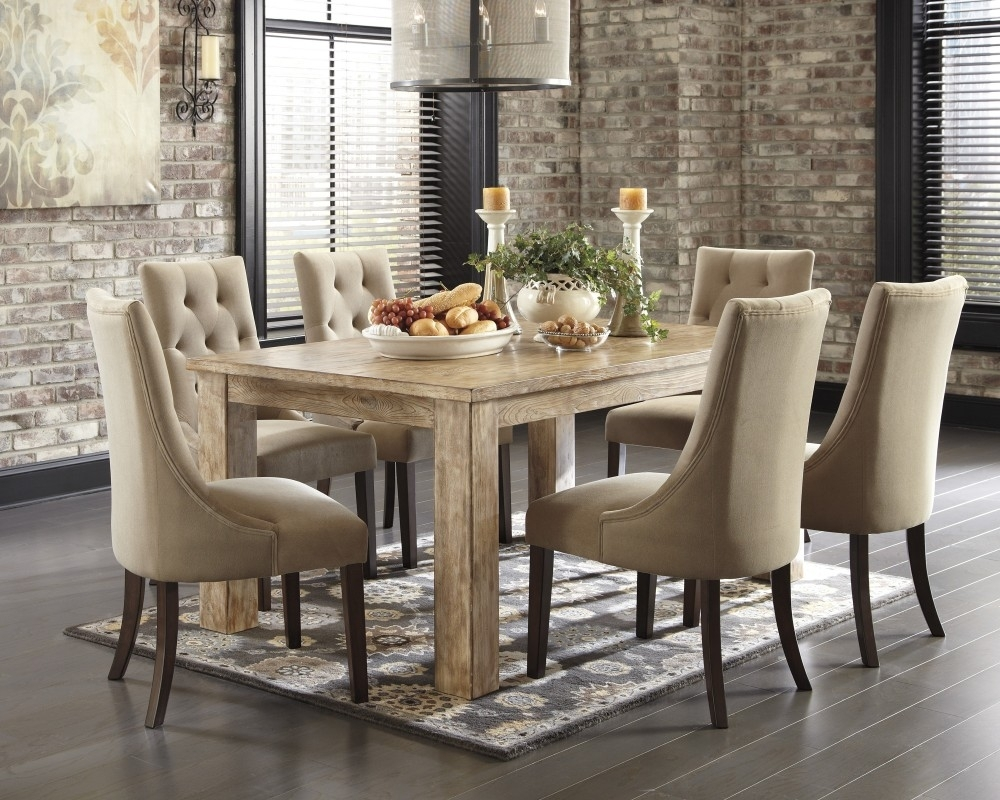 Mestler Bisque Rectangular Dining Room Table & 4 Light Brown Uph Within Most Popular Market 6 Piece Dining Sets With Side Chairs (Photo 1 of 20)