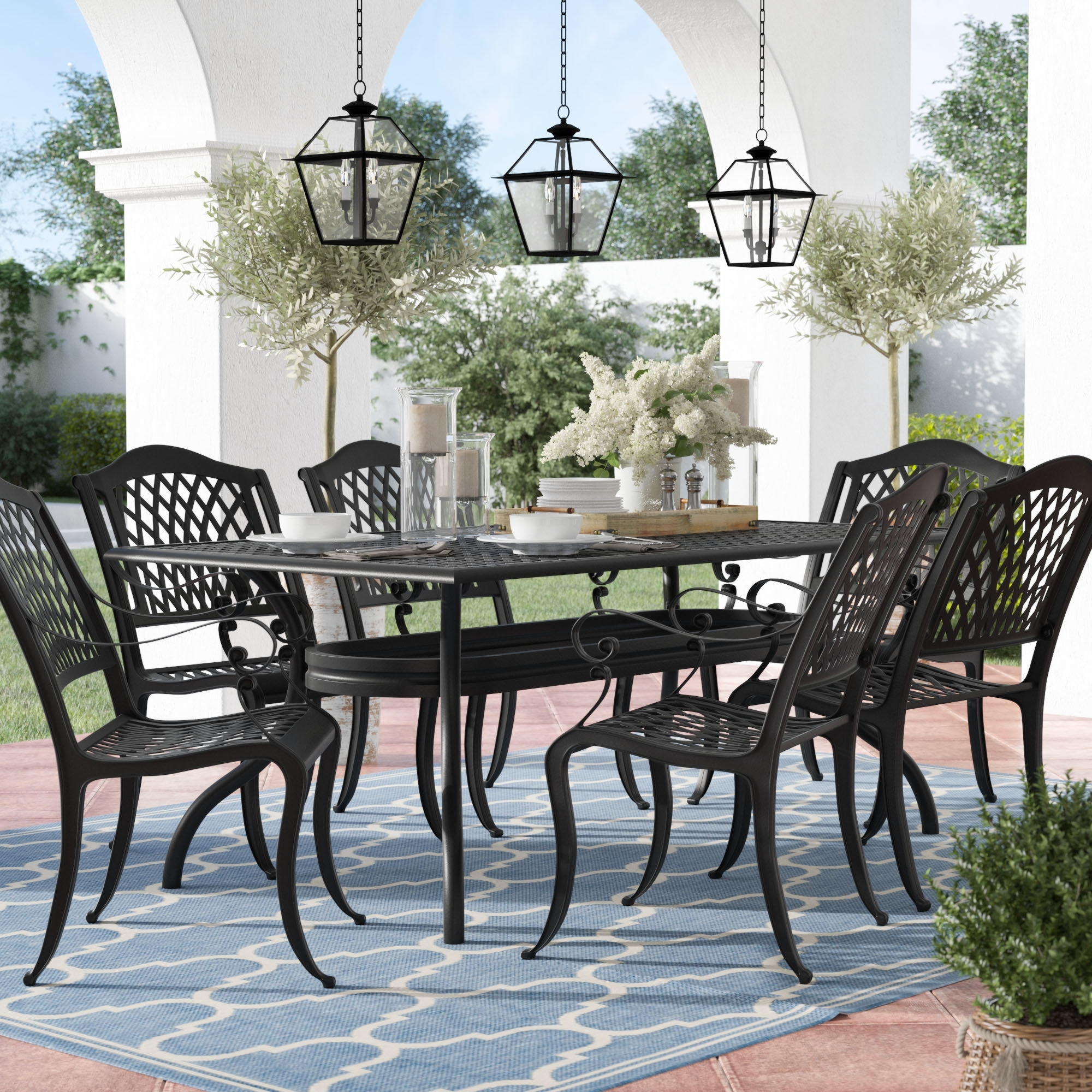 Metal Patio Furniture You'll Love | Wayfair Throughout Best And Newest Market 7 Piece Dining Sets With Side Chairs (Image 14 of 20)