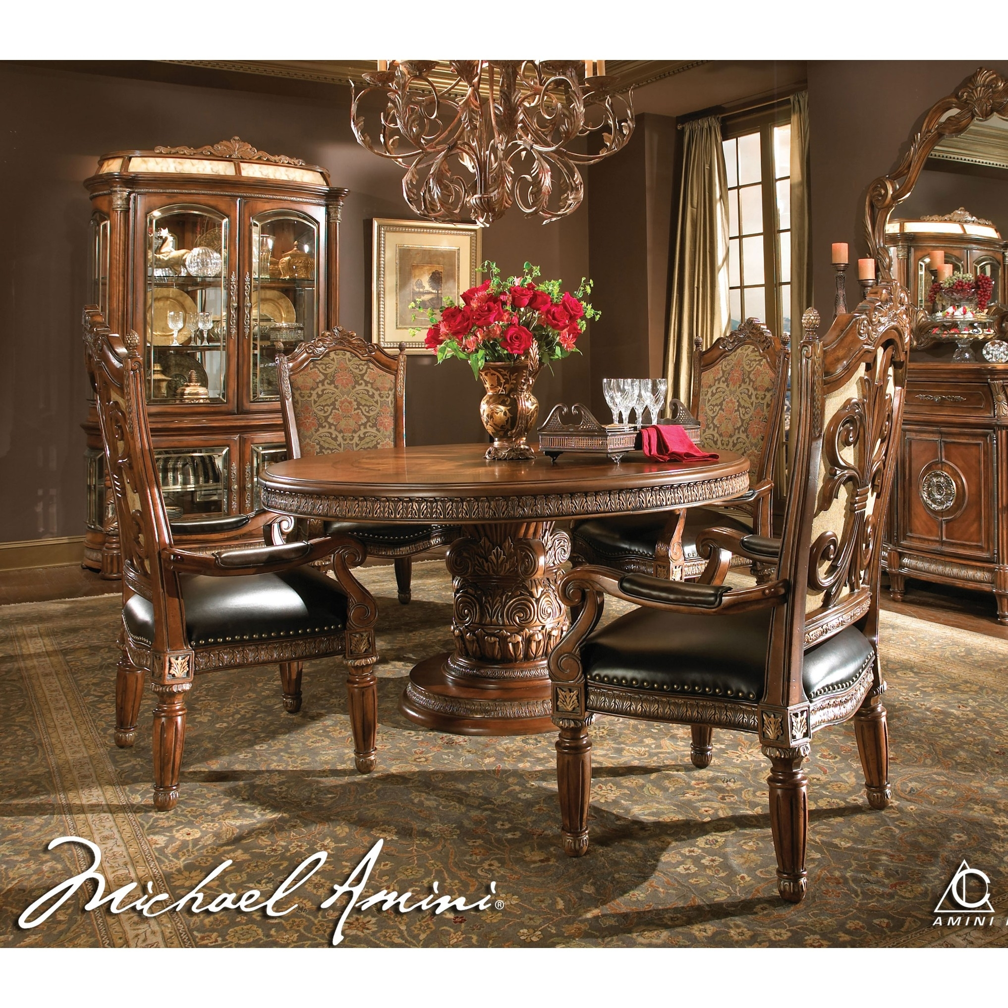 Michael Amini 5Pc Villa Valencia Round / Oval Dining Table Set & 4 Inside Current Valencia 60 Inch Round Dining Tables (Image 10 of 20)