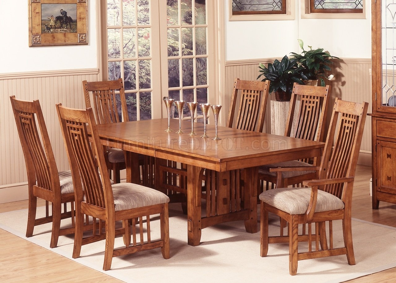 Mission Oak Finish Casual Dining Room Table W/options Throughout Most Current Craftsman 5 Piece Round Dining Sets With Uph Side Chairs (Image 13 of 20)