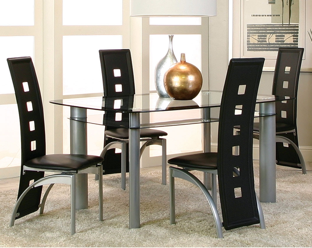 Modern Black, Glass Dinette Set | Valencia Five Piece Dining Set Regarding 2018 Valencia 5 Piece Counter Sets With Counterstool (View 3 of 20)