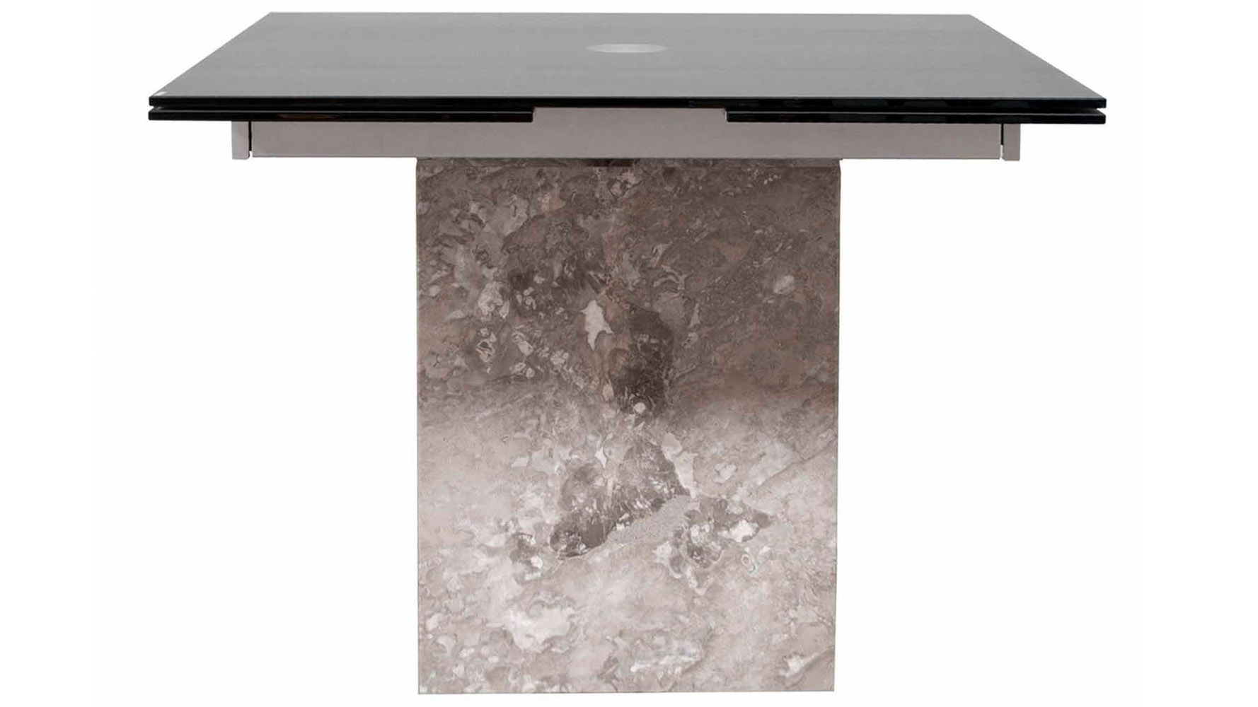 Modern Citadel Extension Dining Table Grey Marble Base 12Mm Acid Intended For Newest Ina Matte Black 60 Inch Counter Tables With Frosted Glass (Image 5 of 20)