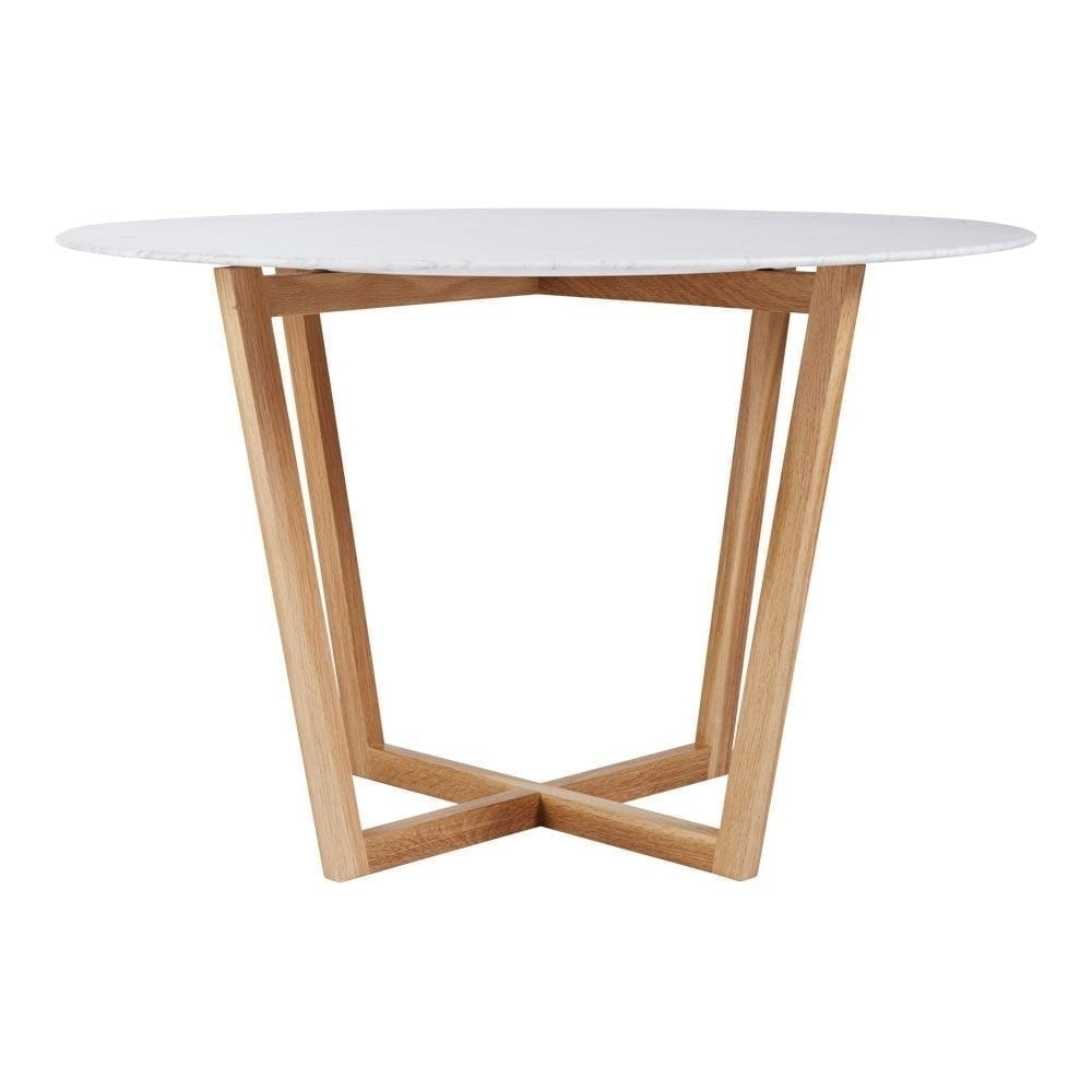 Modern Designer Round Italian Marble Dining Table – Oak Wooden Base Inside Most Current Lassen Round Dining Tables (View 7 of 20)
