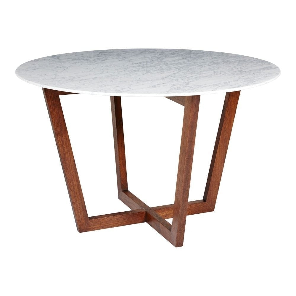 Modern Designer Round Italian Marble Dining Table – Walnut Wooden Base Pertaining To Most Up To Date Lassen Round Dining Tables (Photo 13 of 20)