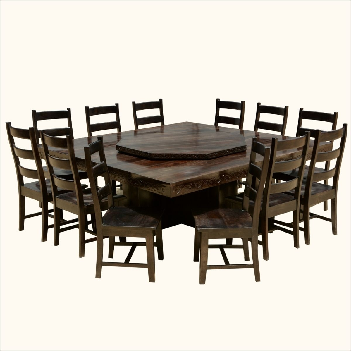 Modern Pioneer Solid Wood Lazy Susan Pedestal Dining Table & Chair With Most Recent Laurent 7 Piece Rectangle Dining Sets With Wood And Host Chairs (Photo 18 of 20)