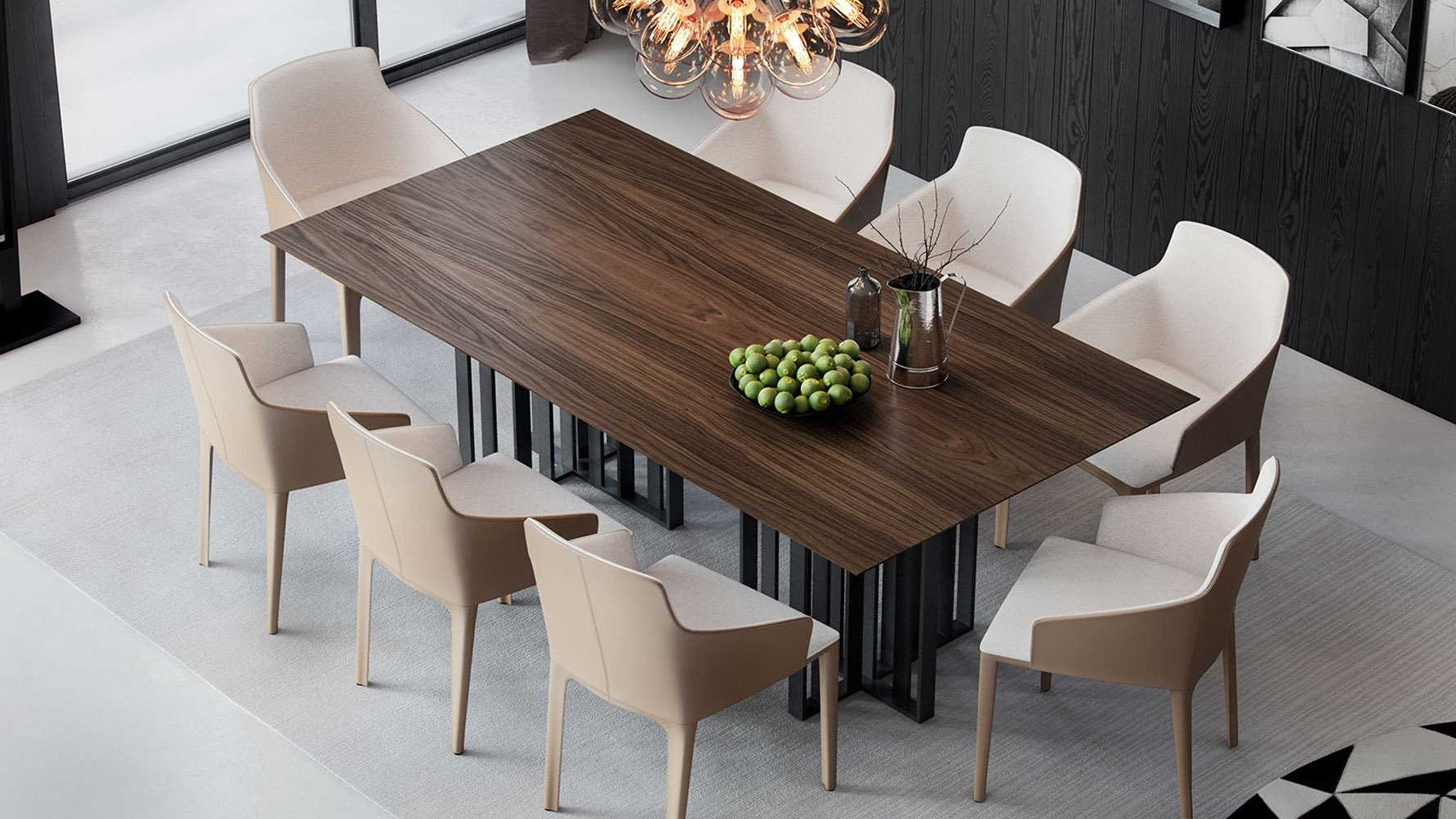 Modern Saida Rectangular Dining Table – Walnut On Titanium | Zuri Intended For 2018 87 Inch Dining Tables (View 6 of 20)