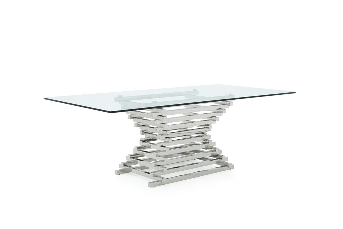 Modrest Crawford Modern Rectangular Glass Dining Table Throughout Most Up To Date Crawford Rectangle Dining Tables (Image 15 of 20)